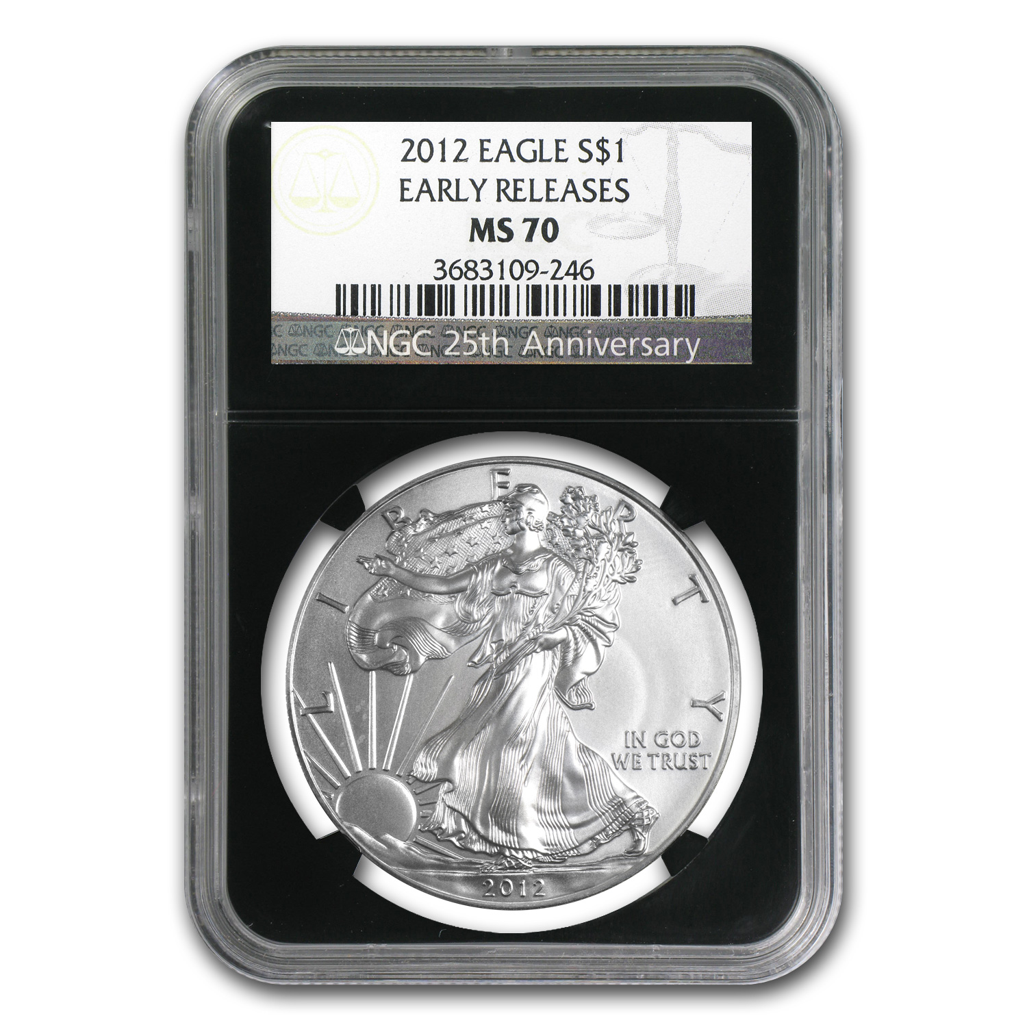 2012 Silver American Eagle MS-70 NGC (ER, Retro Black Insert)