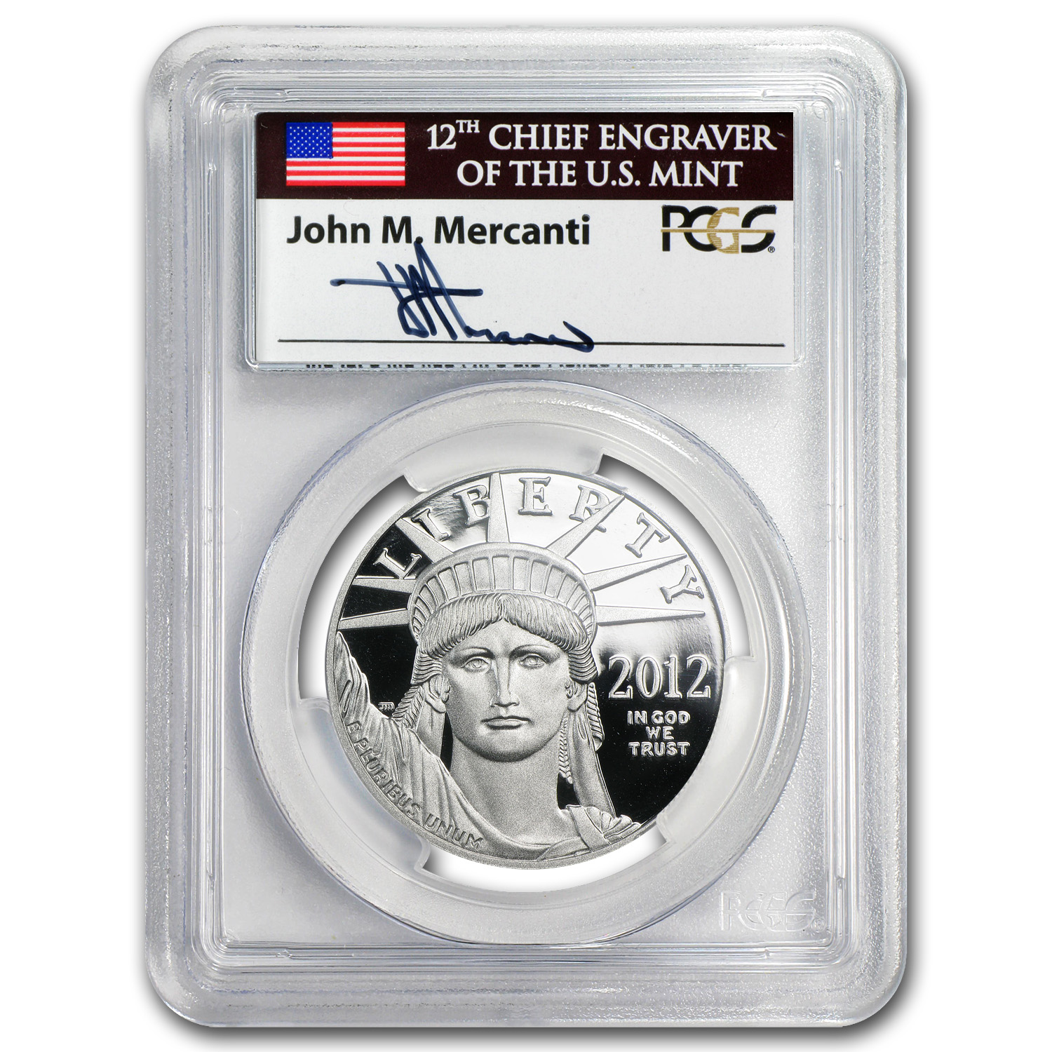2012-W 1 oz Prf Platinum Eagle PR-69 PCGS (FS, Mercanti Label)
