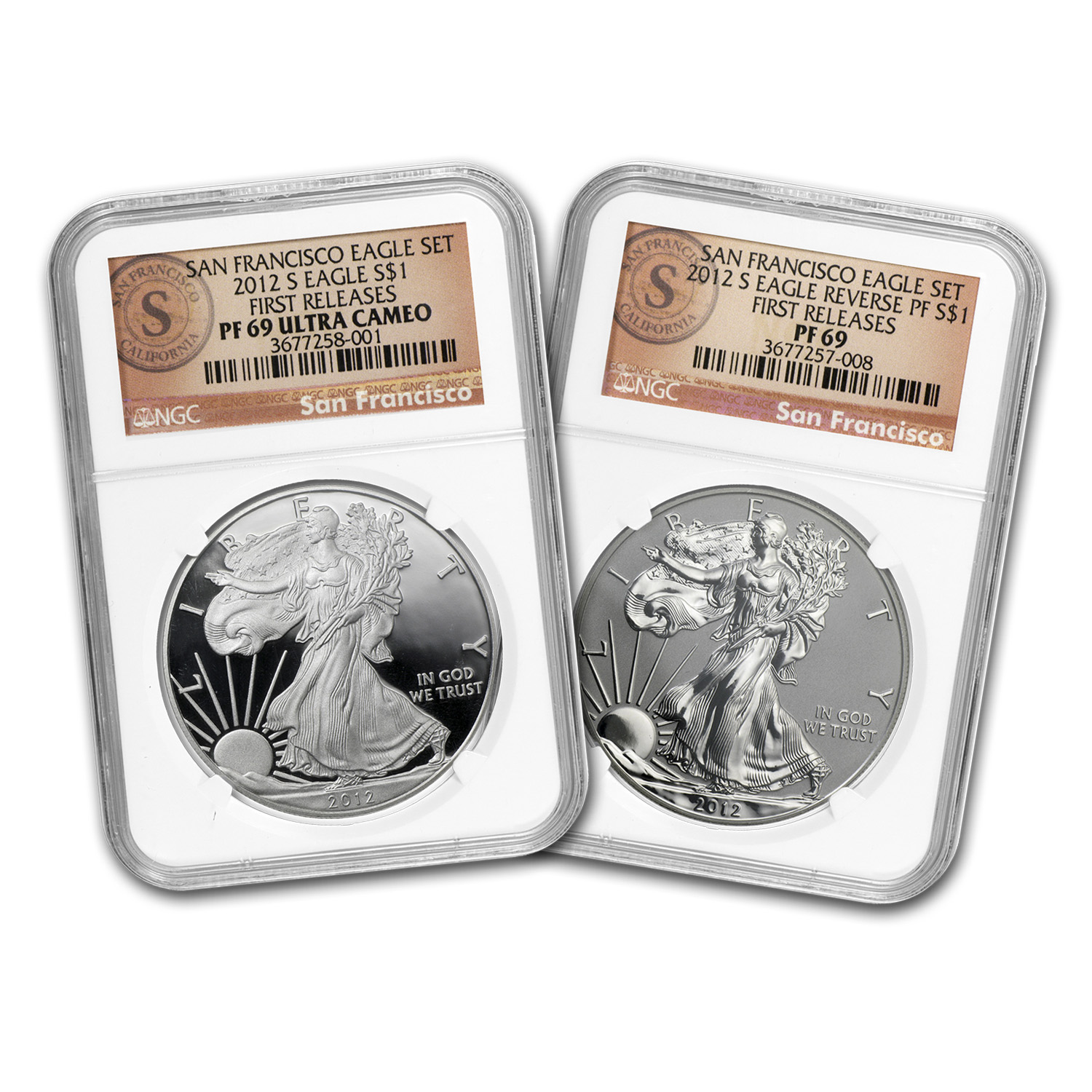 2012-S 2-Coin Proof Silver Eagle Set PF-69 NGC (FR, 75th Anniv)