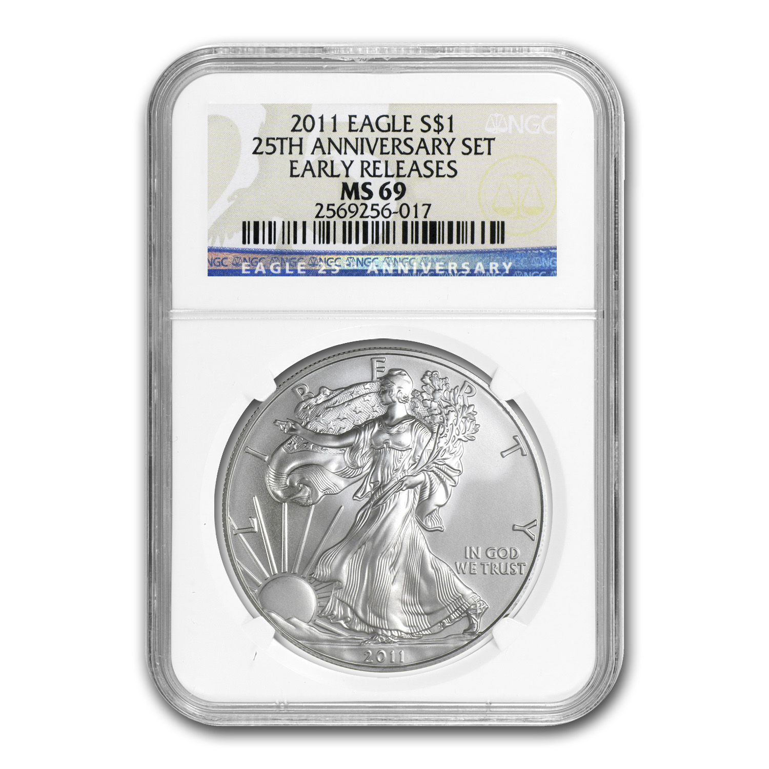 2011 Silver American Eagle MS-69 NGC (25th Anniv, Blue Label)