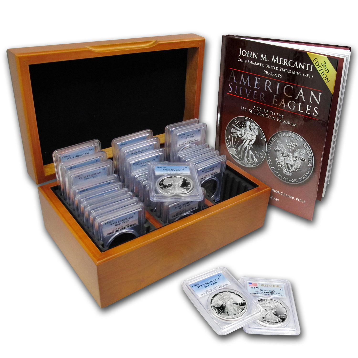 1986-2013 27-Coin Proof Silver Eagle Set PR-69 PCGS (w/Wood Box)