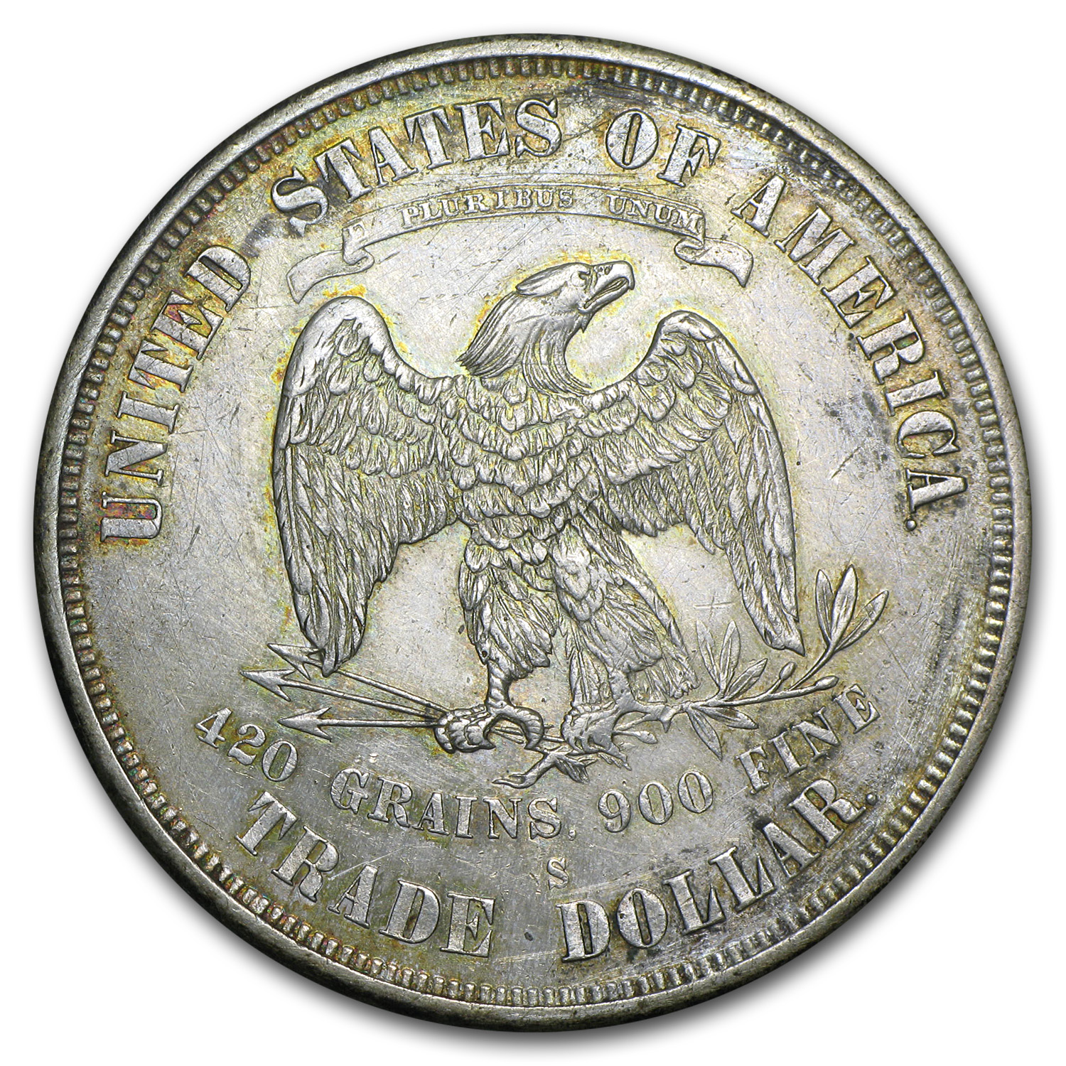 1874-S Trade Dollar BU Details (Cleaned)