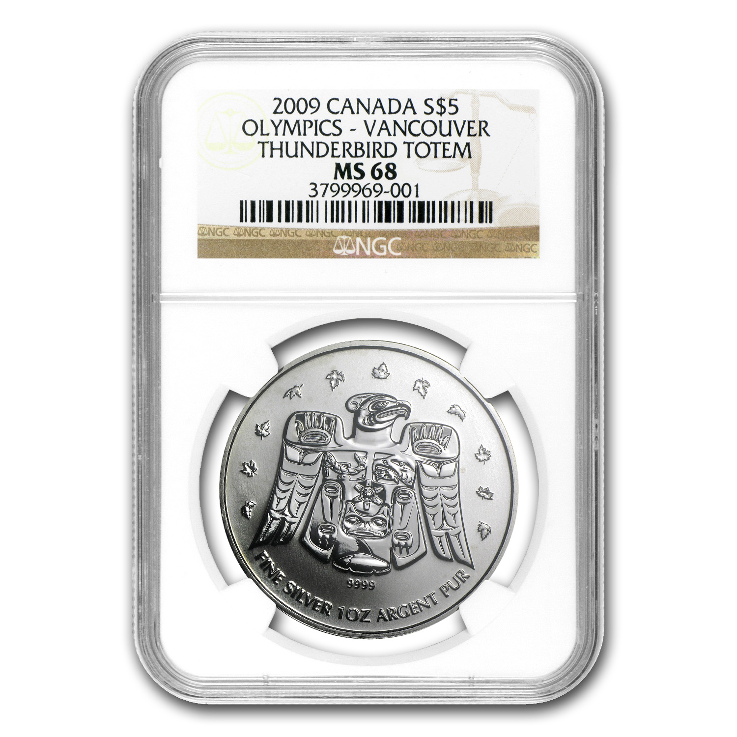 2009 1 oz Silver Canadian Olympic Thunderbird Totem MS-68 NGC