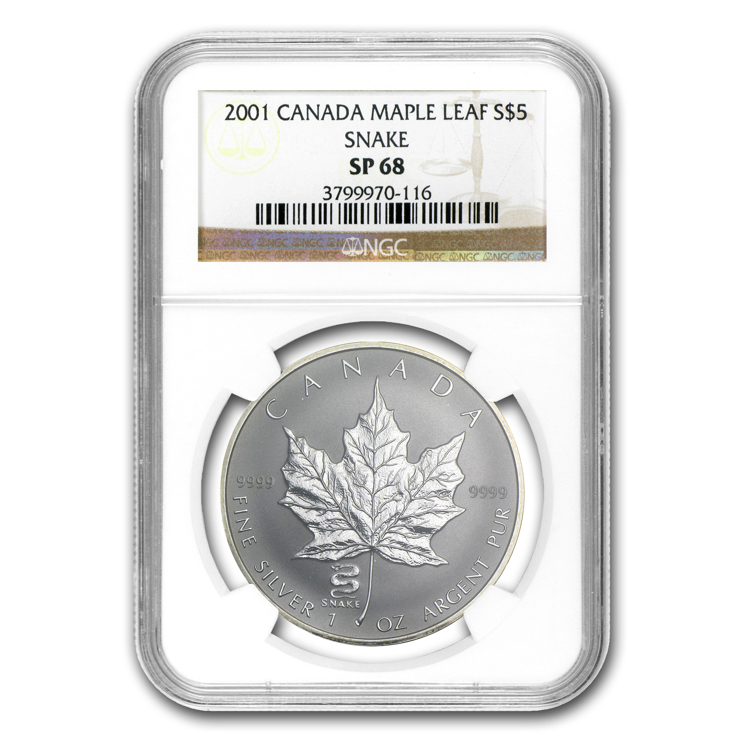 2001 Canada 1 oz Silver Maple Leaf Snake Privy SP-68 NGC