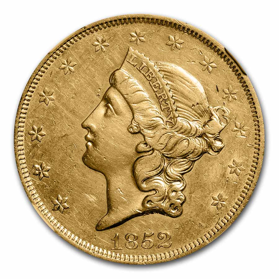 1852 $20 Gold Liberty Double Eagle - (AU Details) - NGC