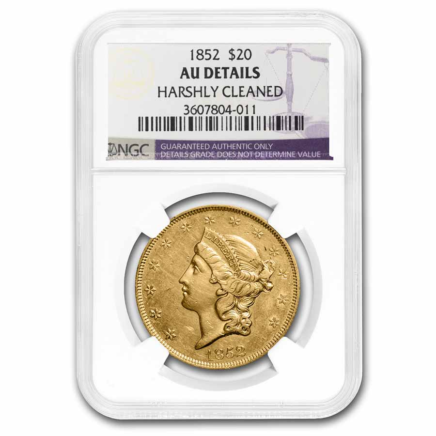 1852 $20 Liberty Gold Double Eagle AU Details NGC