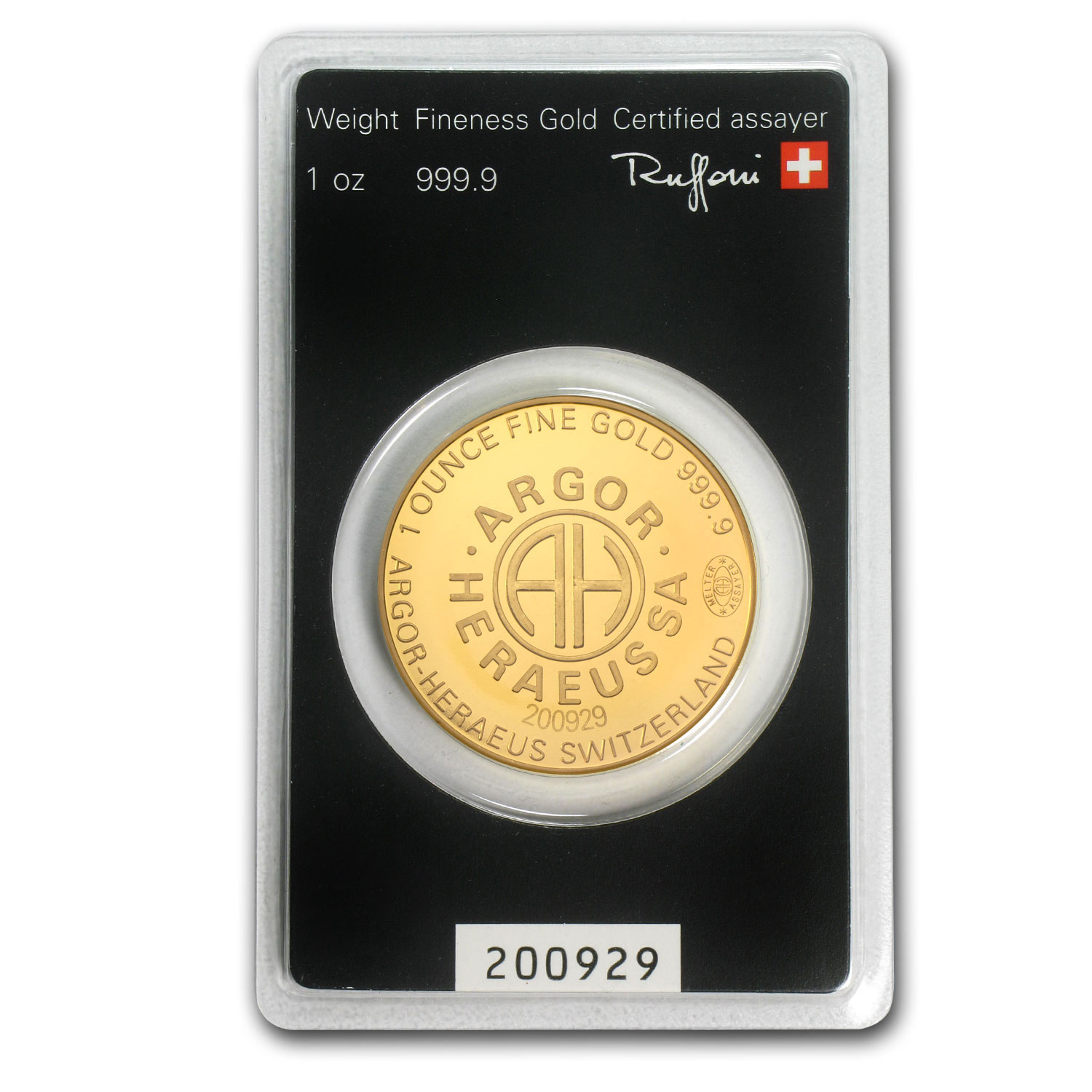 1 oz Gold Rounds - Argor-Heraeus (KineRound Design, in Assay)