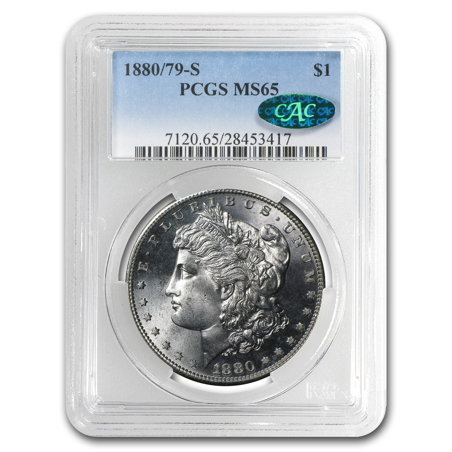 1880/79-S Morgan Dollar - MS-65 PCGS - CAC