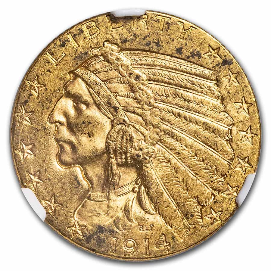 1914-D $5 Indian Gold Half Eagle - MS-62 NGC
