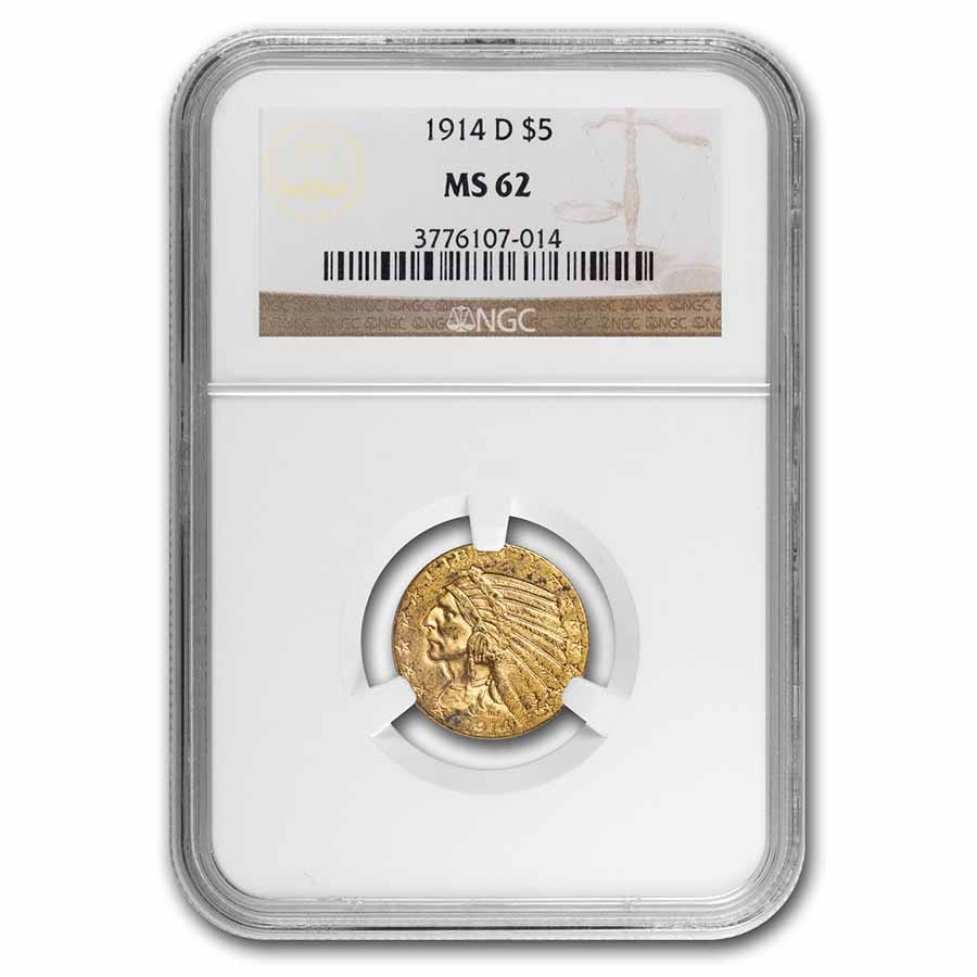 1914-D $5 Indian Gold Half Eagle MS-62 NGC
