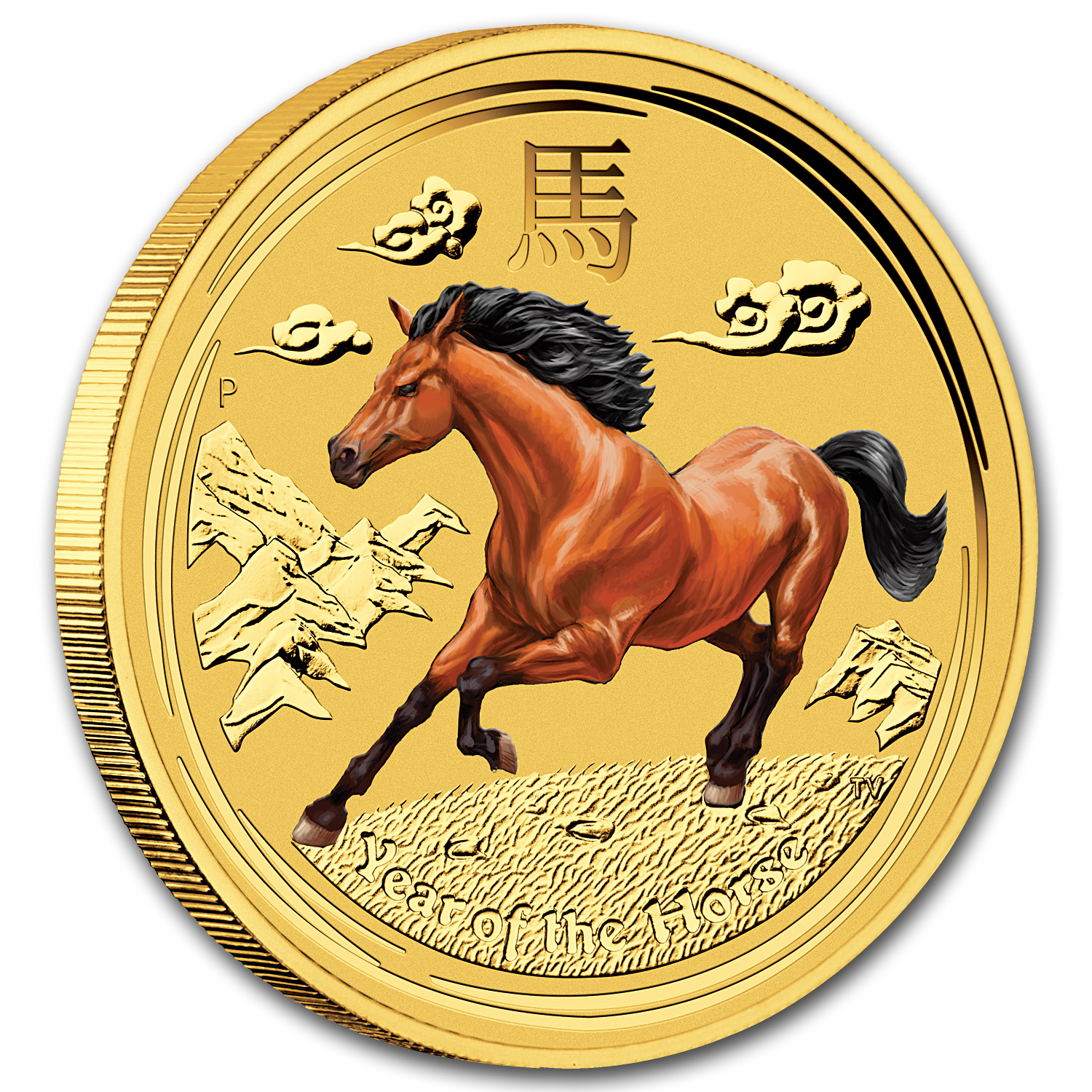 2014 1/4 oz Gold Lunar Year of the Horse (Series II, Colorized)