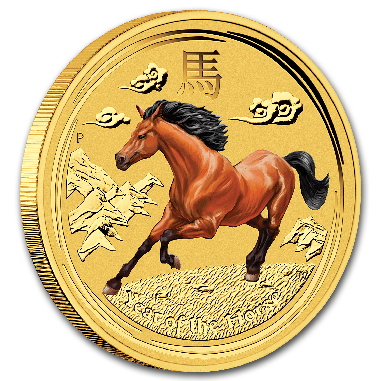 2014 1/2 oz Gold Lunar Year of the Horse BU (SII, Colorized)