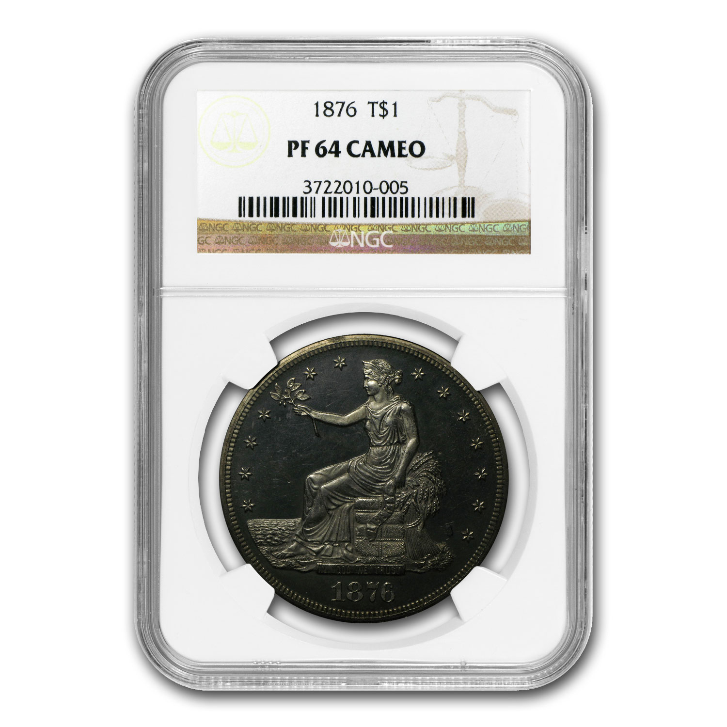 1876 Trade Dollar PF-64 Cameo NGC