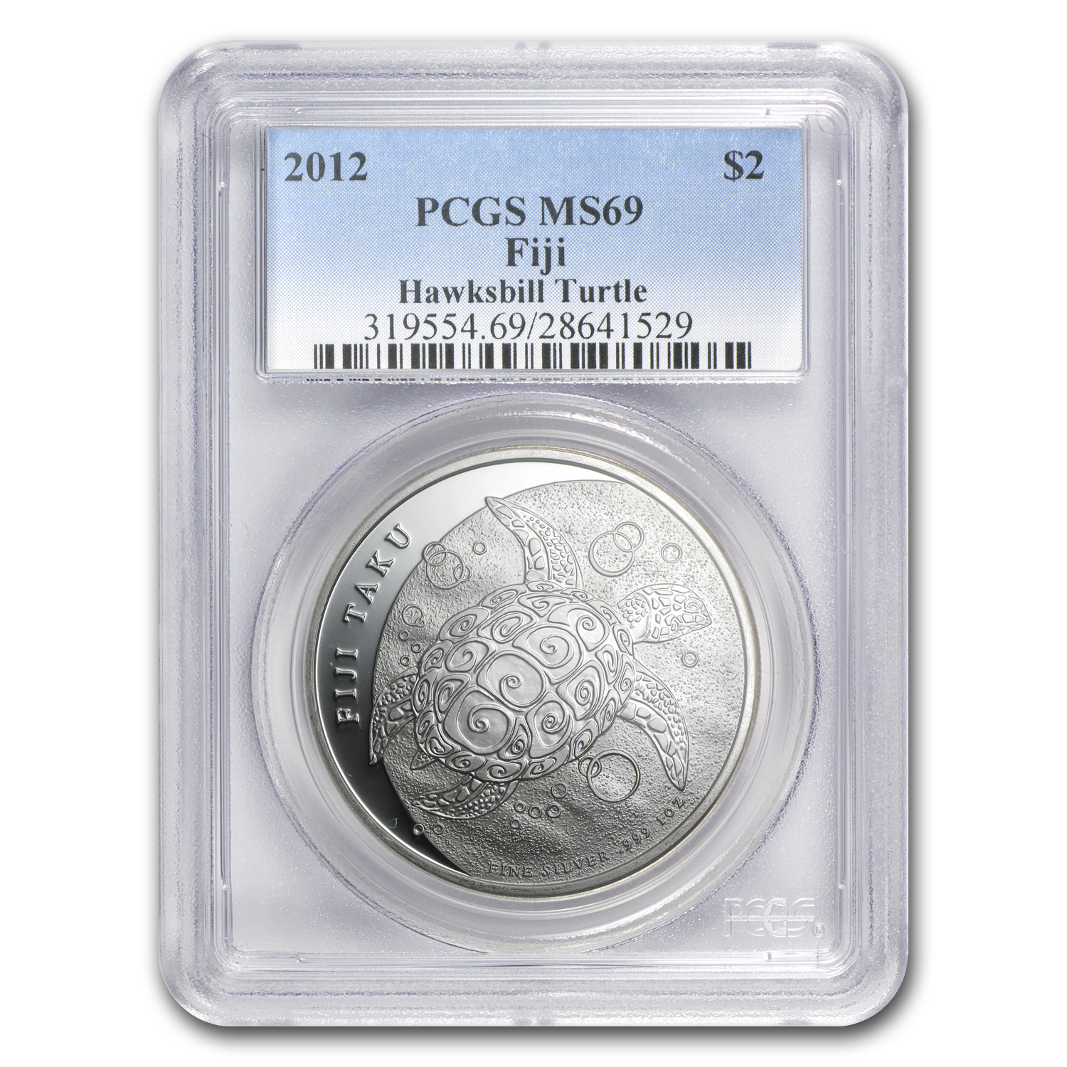2012 1 oz Silver New Zealand Mint $2 Fiji Taku .999 MS-69 PCGS
