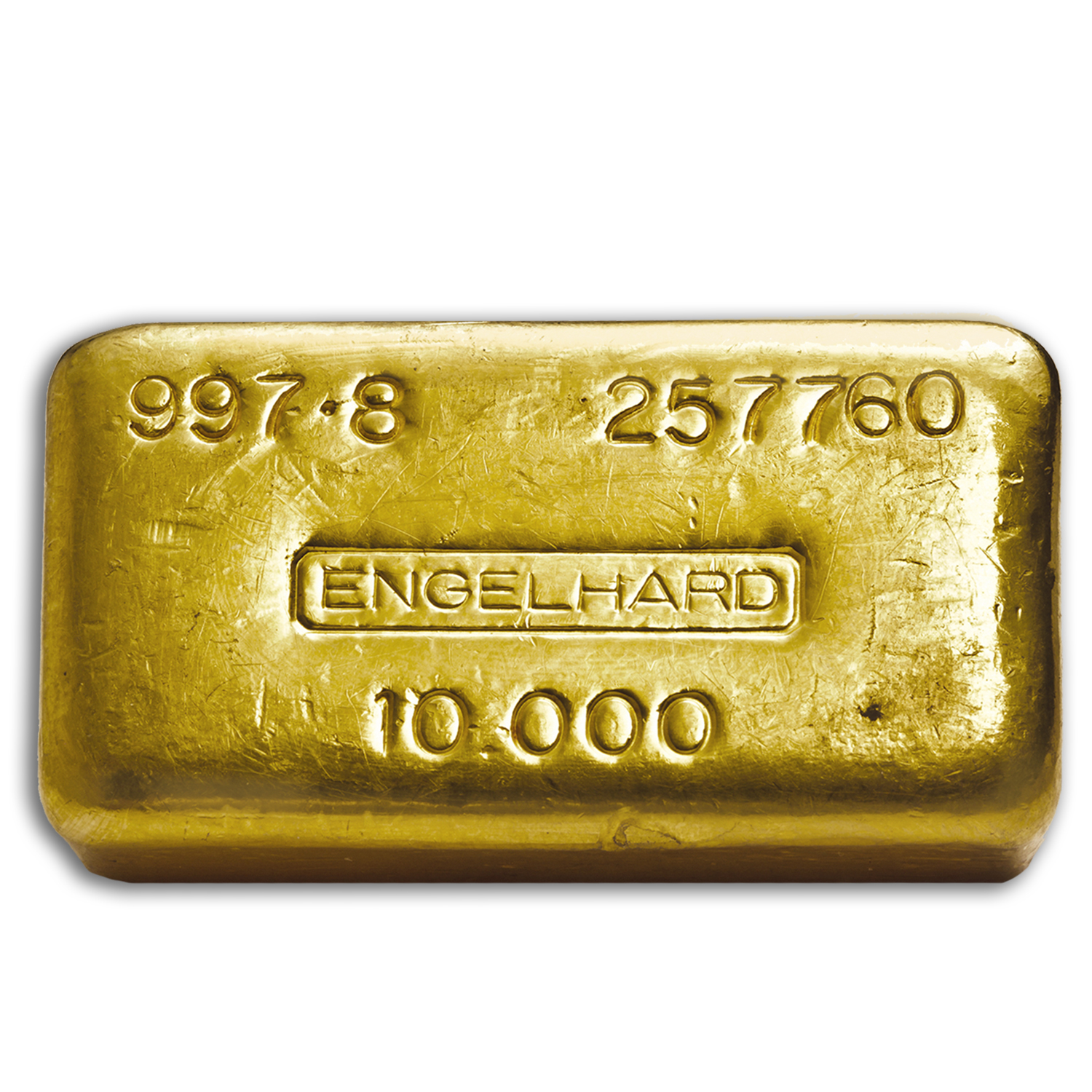 10 oz Gold Bars - Engelhard (Poured/Loaf Style, 997.8 Fine)