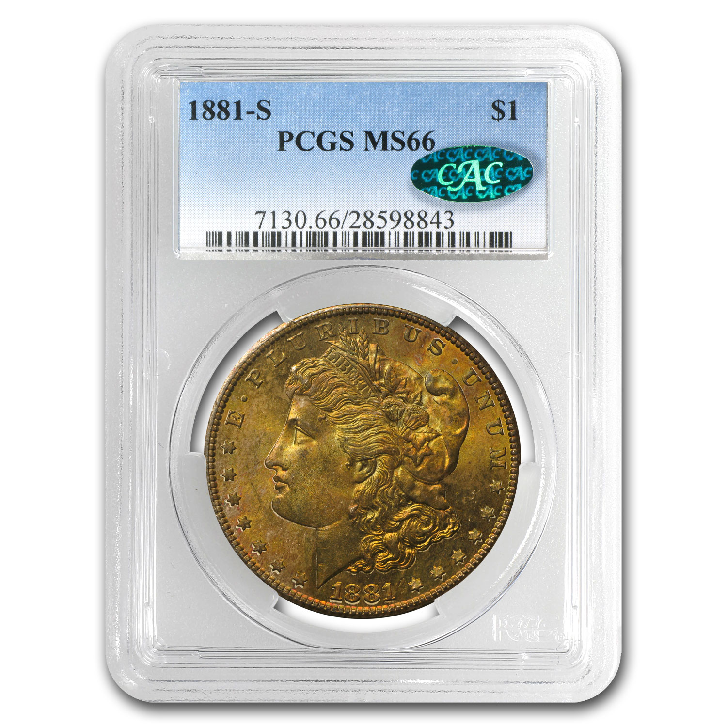 1881-S Morgan Dollar MS-66 PCGS (CAC, Beautifully Toned)