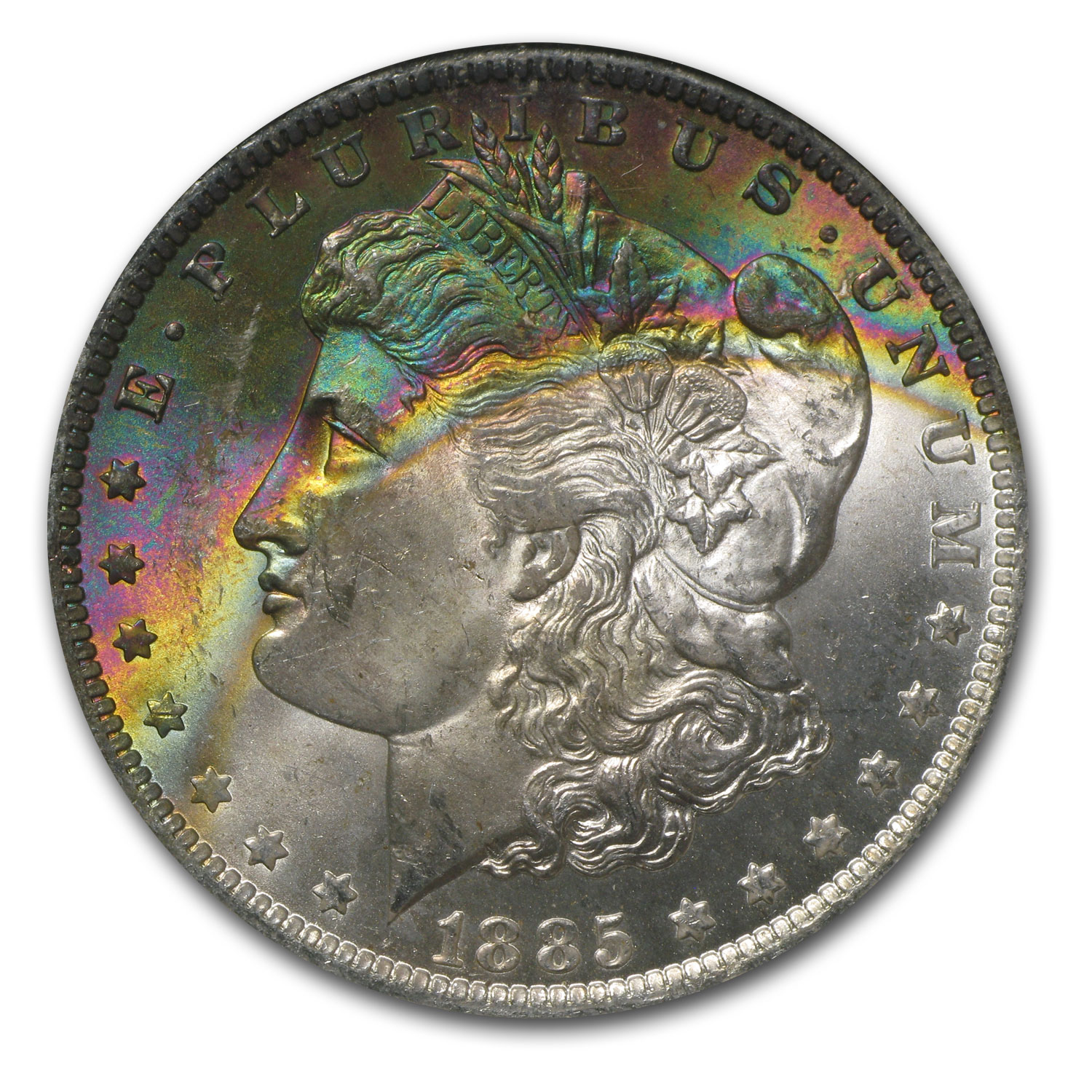 1885-O Morgan Dollar MS-64* NGC (CAC, Beautifully Toned)