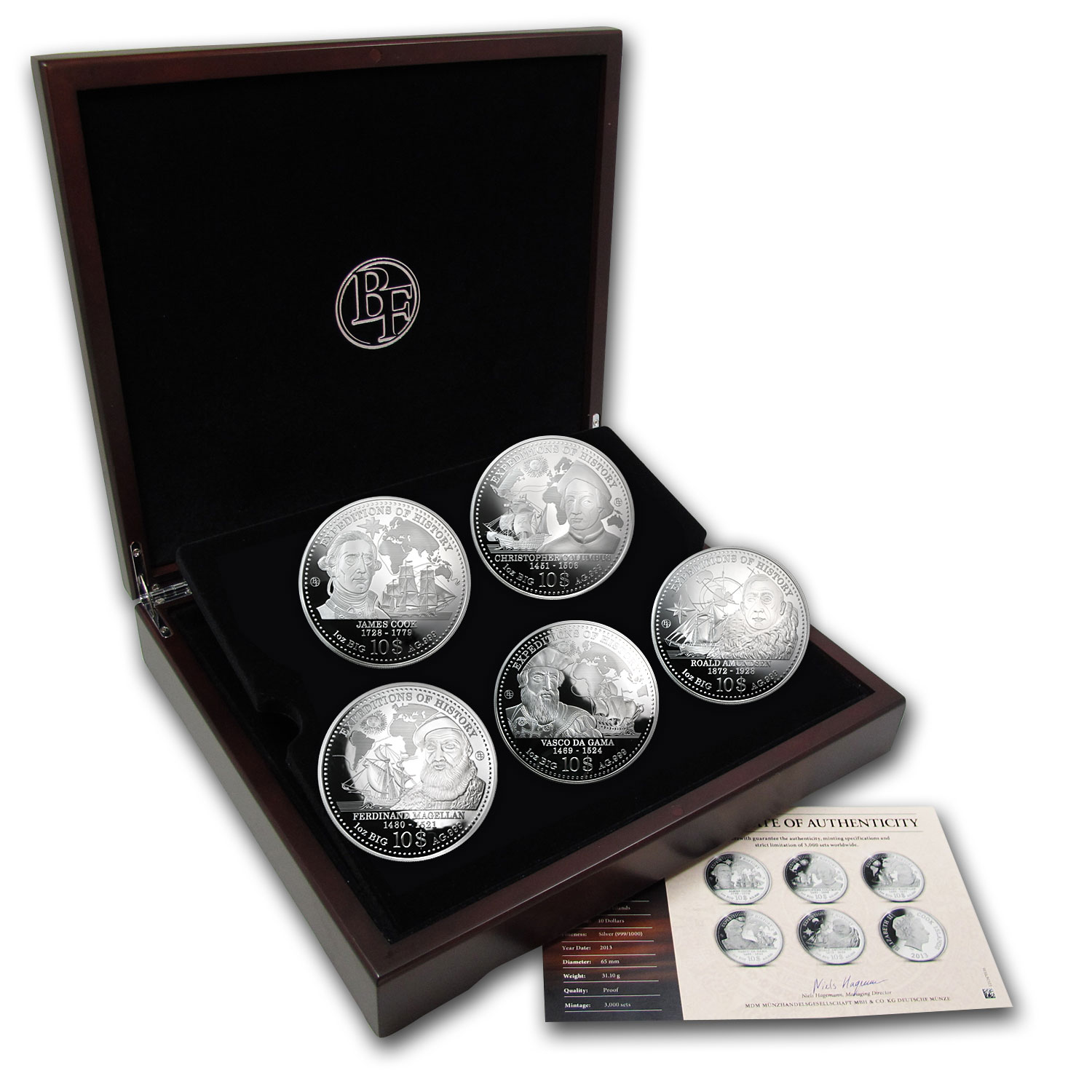 Cook Islands 2013 Big 65mm 1 oz Expeditions of History-5 Coin Set