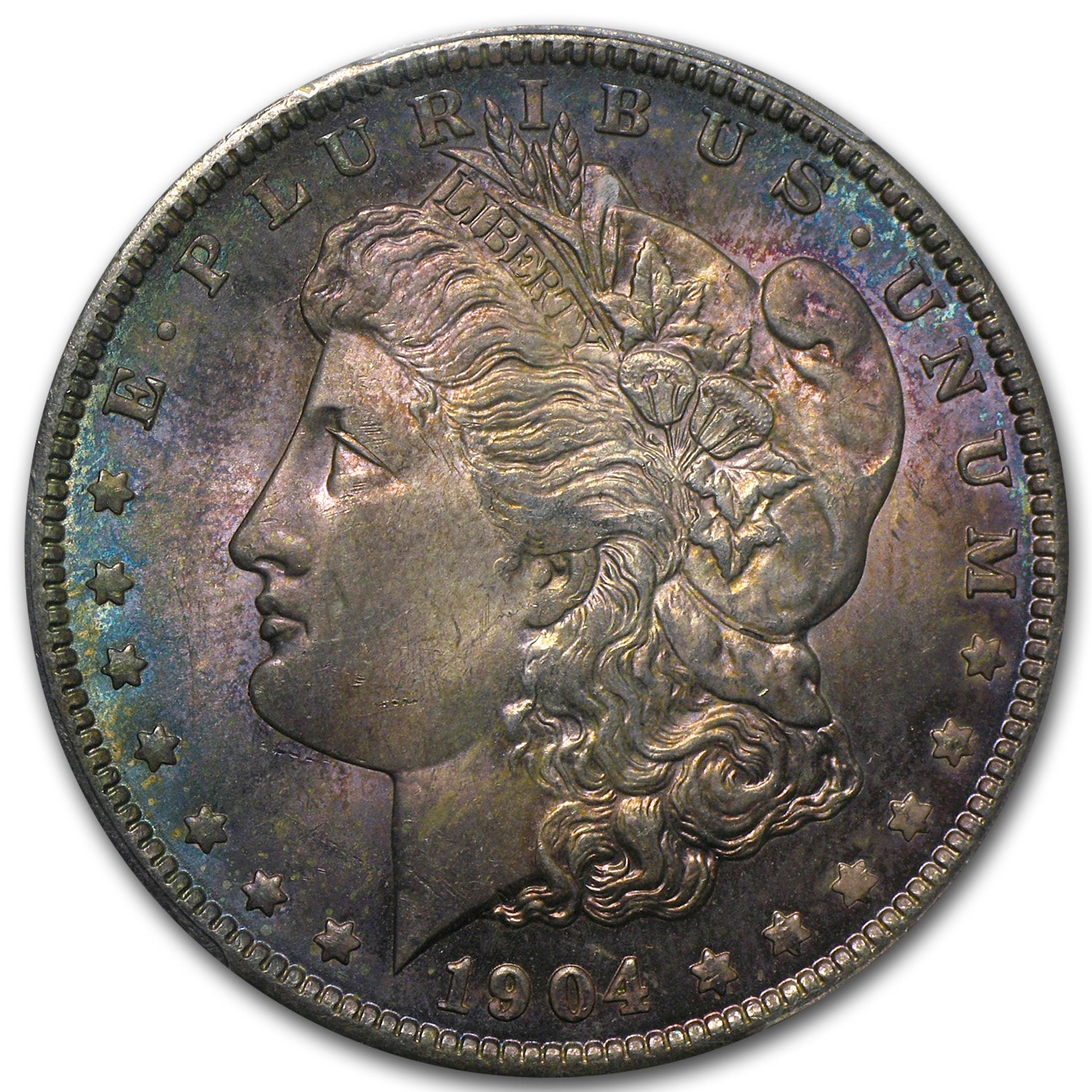 1904-O Morgan Dollar MS-64 PCGS Beautiful Obverse Toning CAC