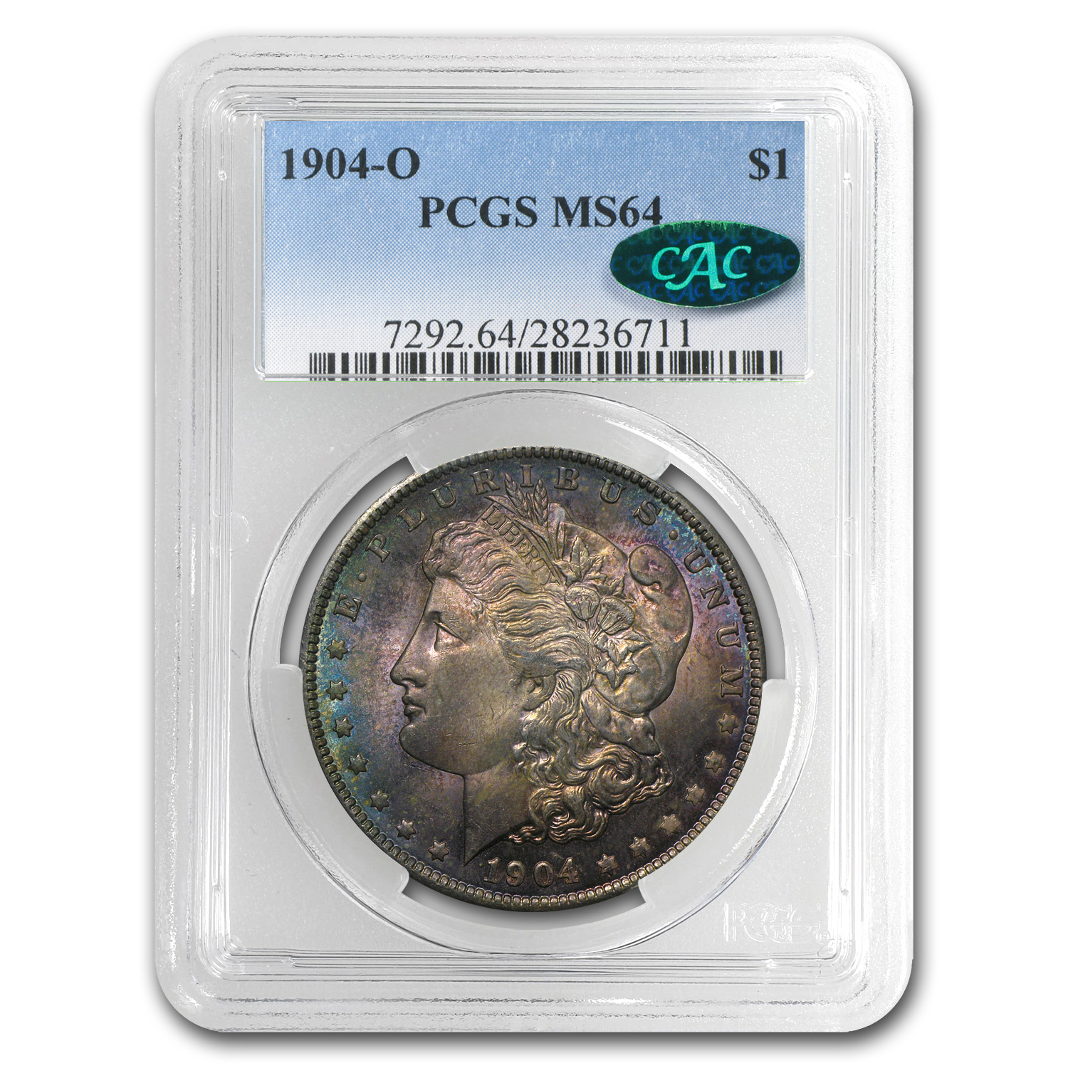 1904-O Morgan Dollar MS-64 PCGS (CAC, Obv Toned)