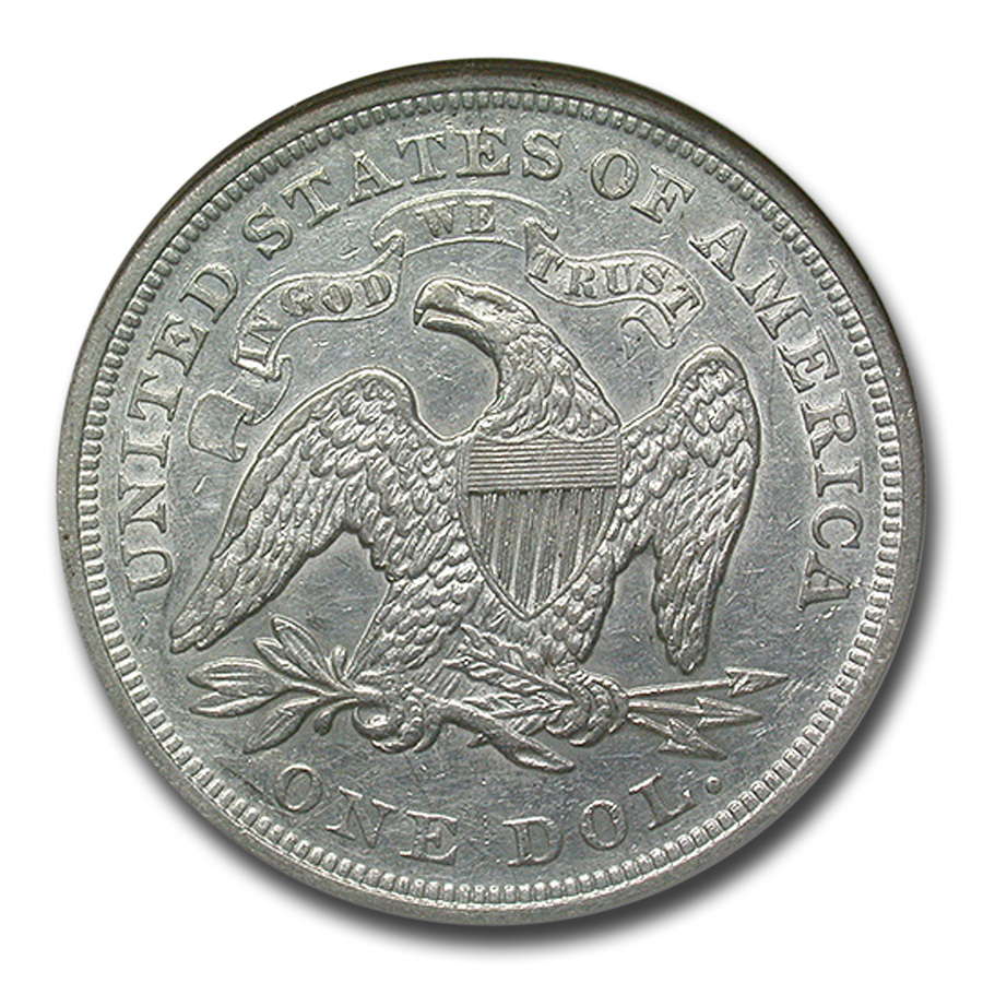 1872 Liberty Seated Dollar - Almost Uncirculated-50 NGC