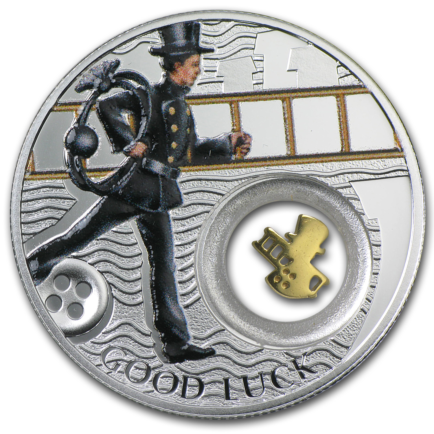 2014 Niue Proof Silver $1 Good Luck Series Chimney Sweep