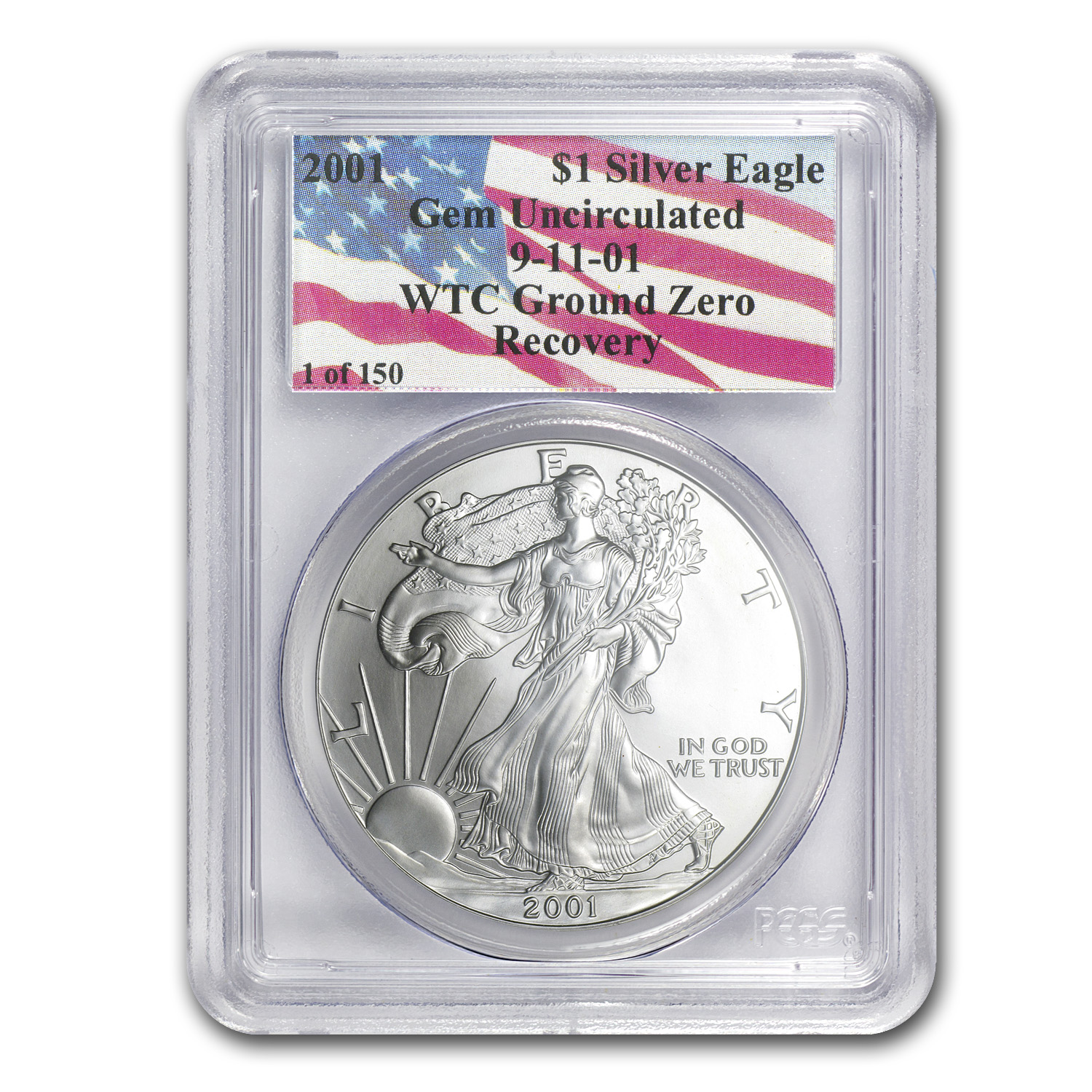2001 Silver American Eagle Gem Unc PCGS (1 of 150, WTC)