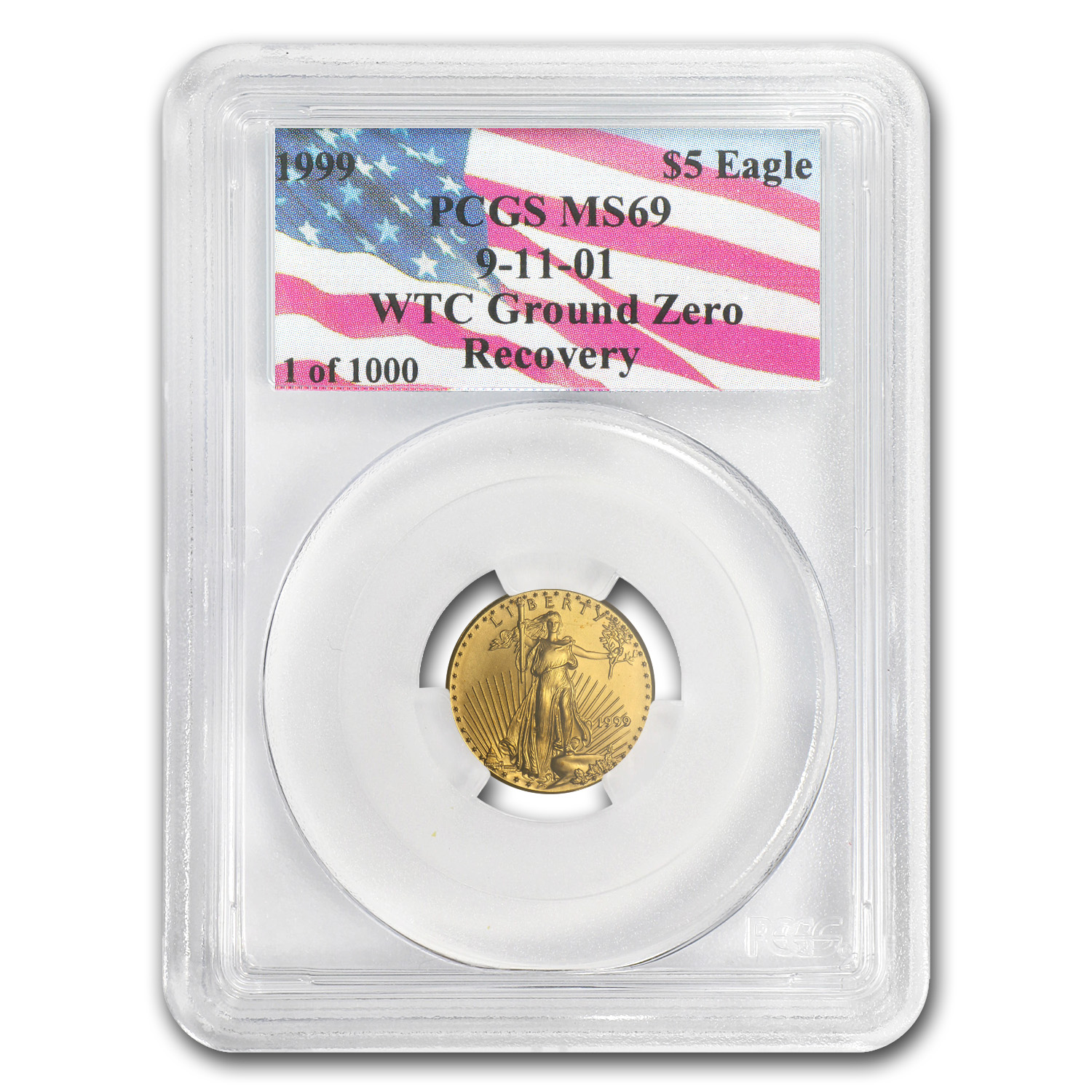 1999 1/10 oz Gold American Eagle MS-69 PCGS (WTC, 1 of 1000)