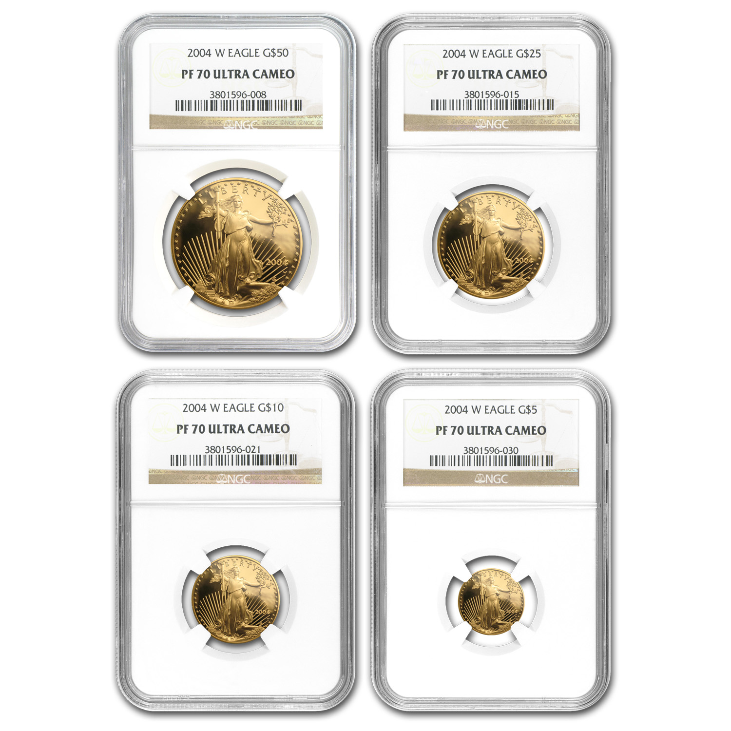 2004-W 4-Coin Proof Gold Eagle Set NGC PF-70 (Registry Set)