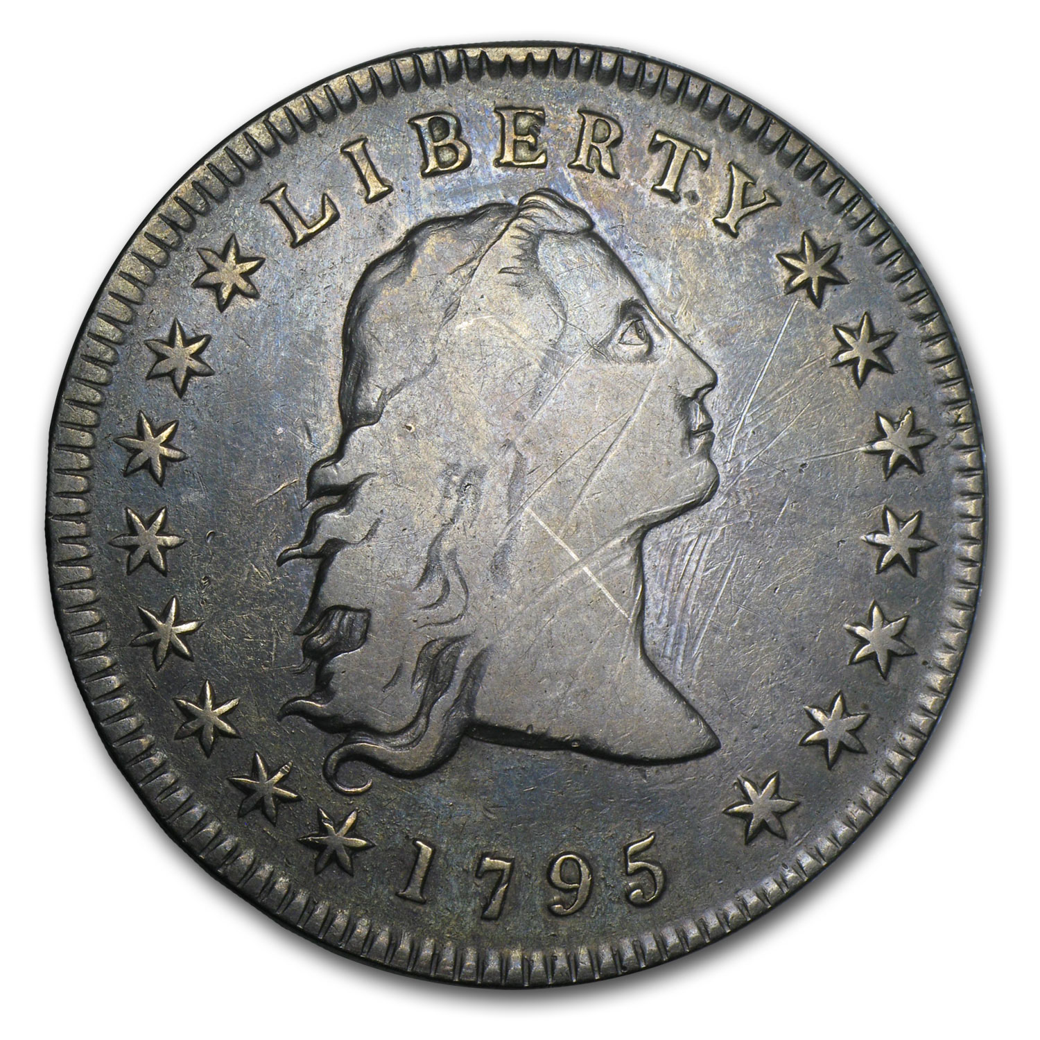 1795 Flowing Hair Dollar Three Leaves VF Details (Scratched)