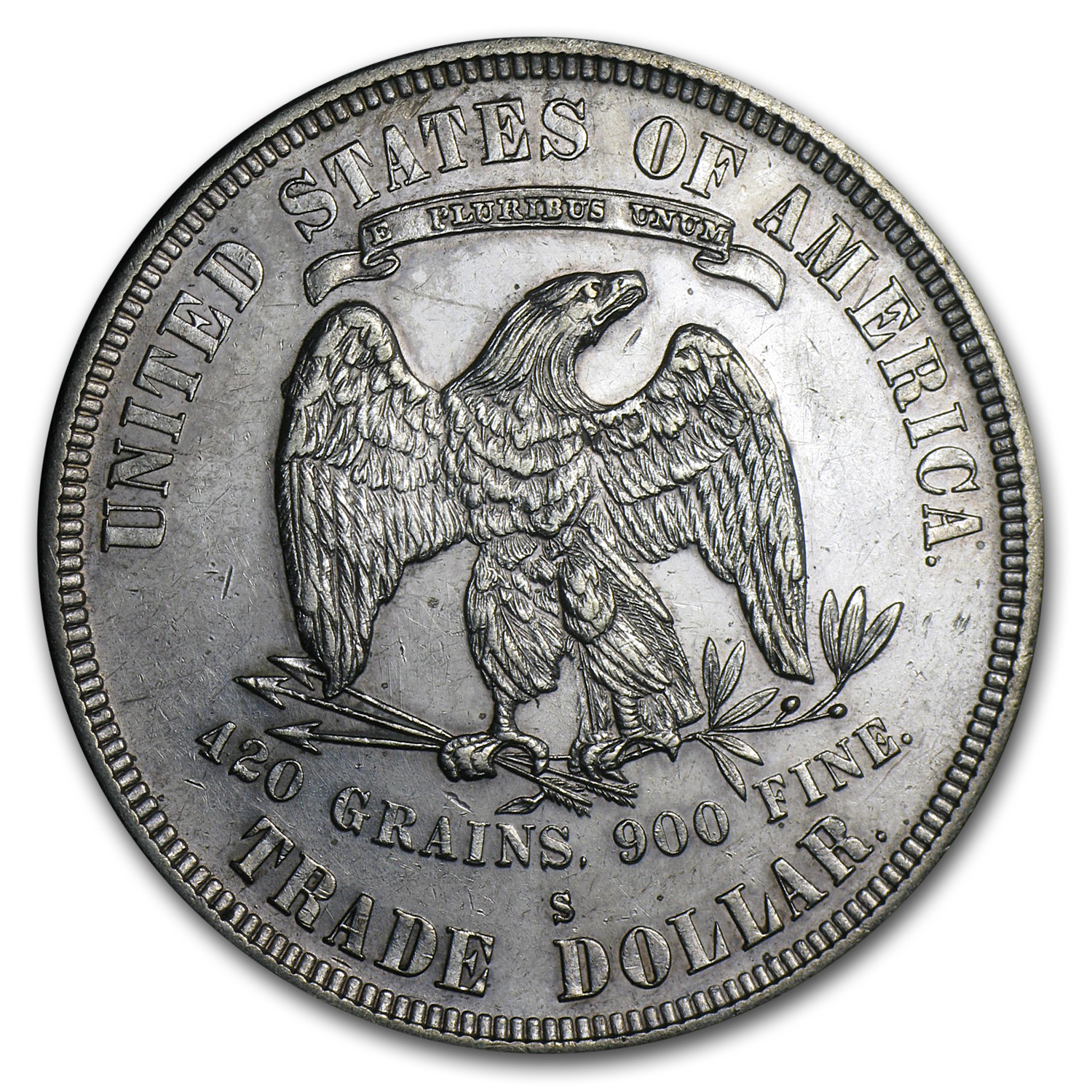 1878-S Trade Dollar - Almost Uncirculated-55