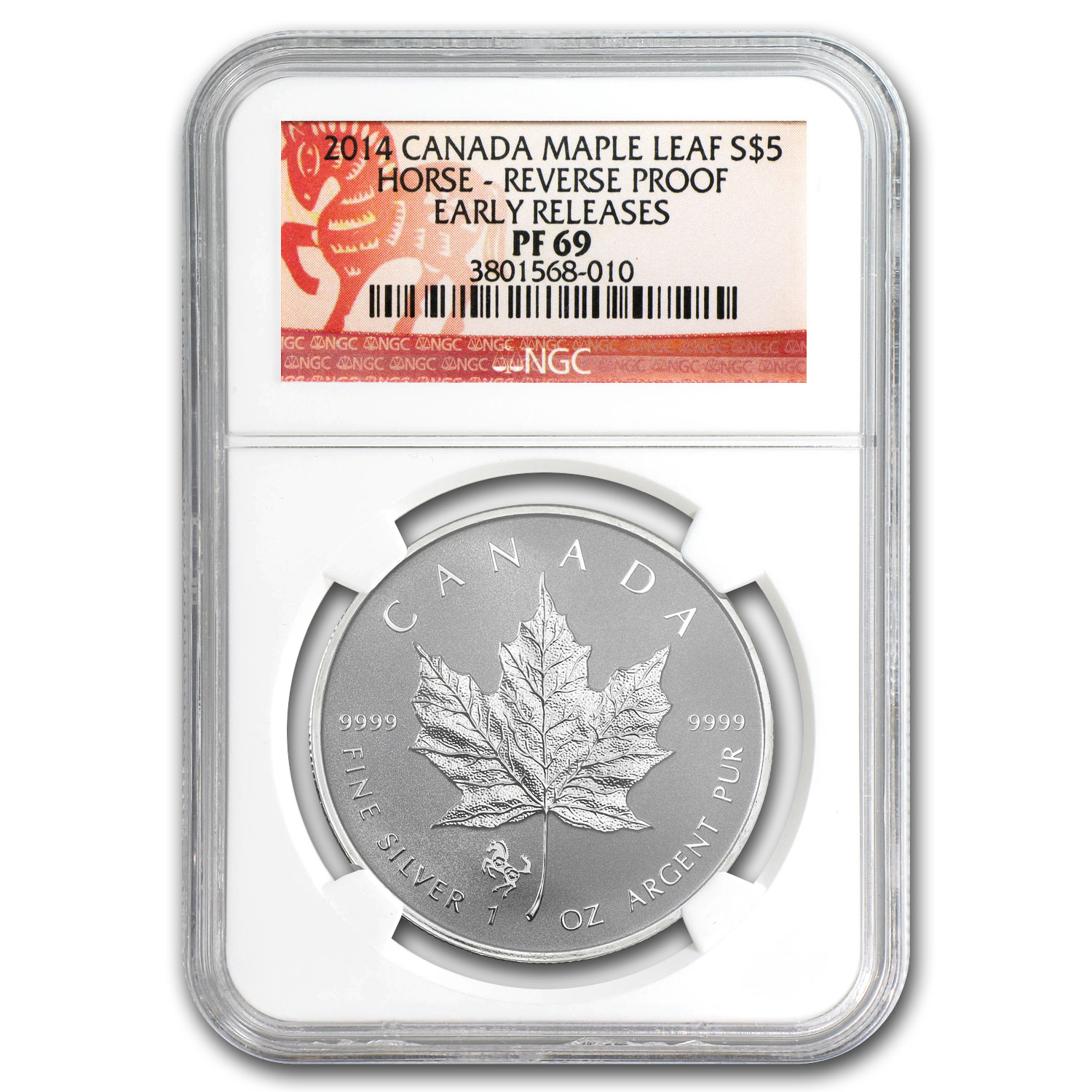 2014 1 oz Silver Canadian Maple Leaf - Horse Privy - PF-69 NGC ER