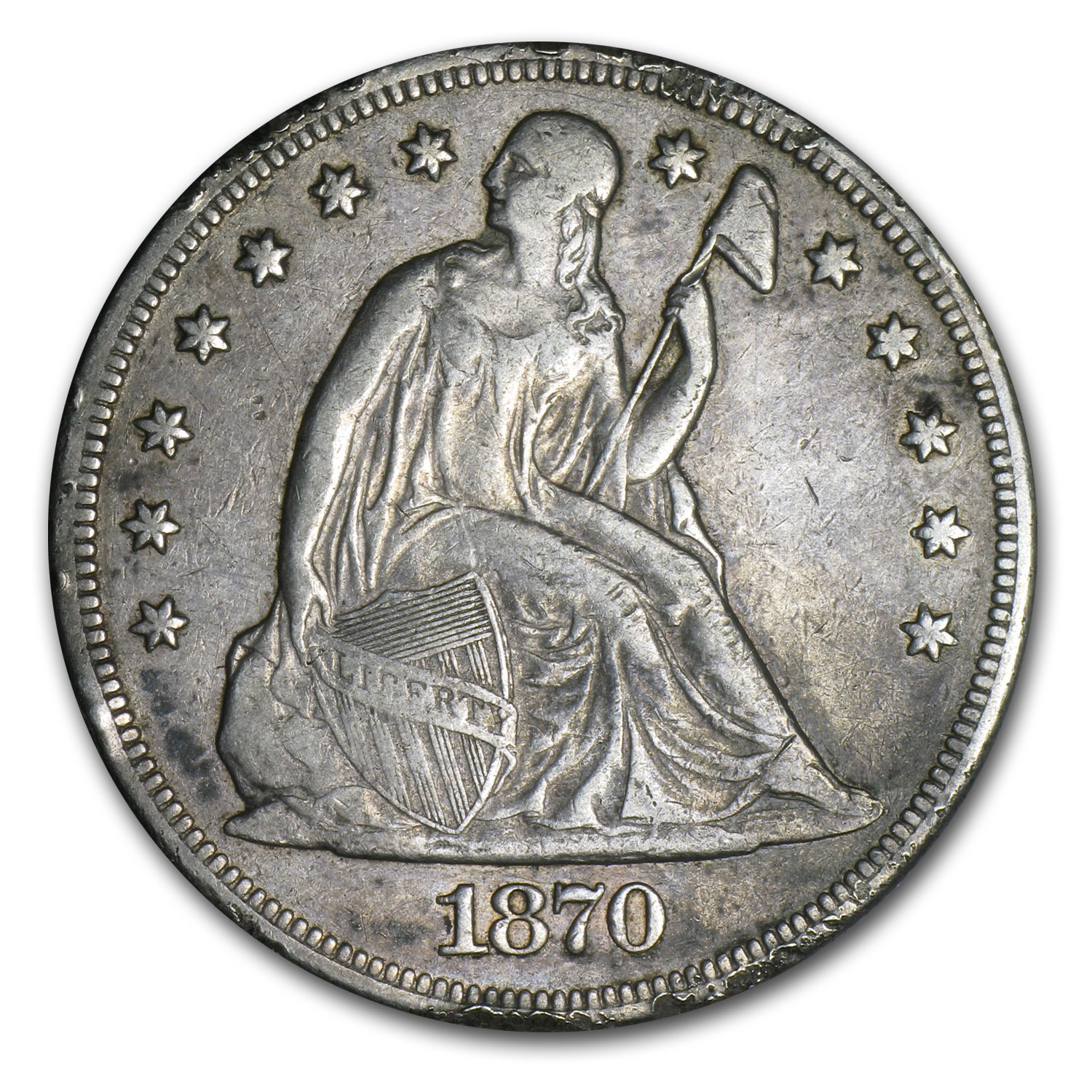 1870-CC Liberty Seated Dollar - Extra Fine Details - Rim Bumps