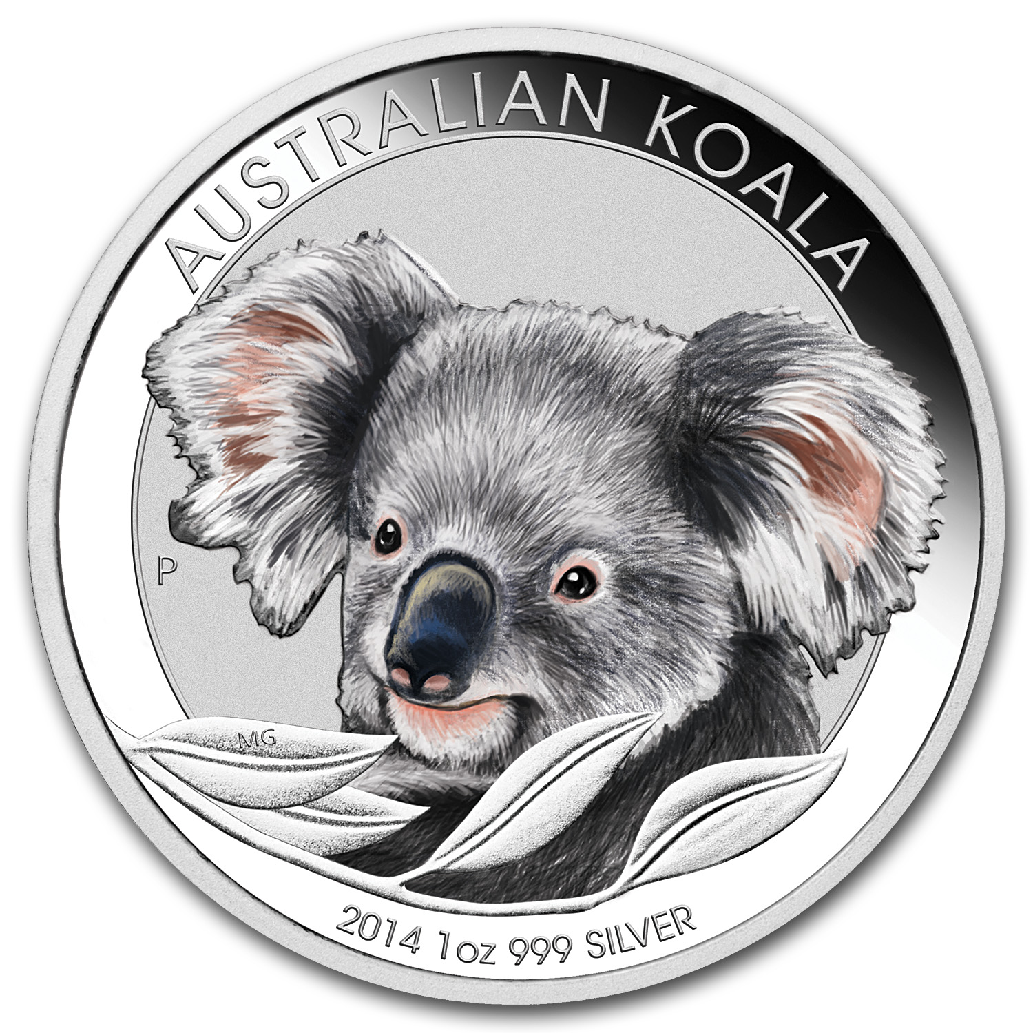 2014 Australia 1 oz Silver Koala BU (Colorized, In display card)