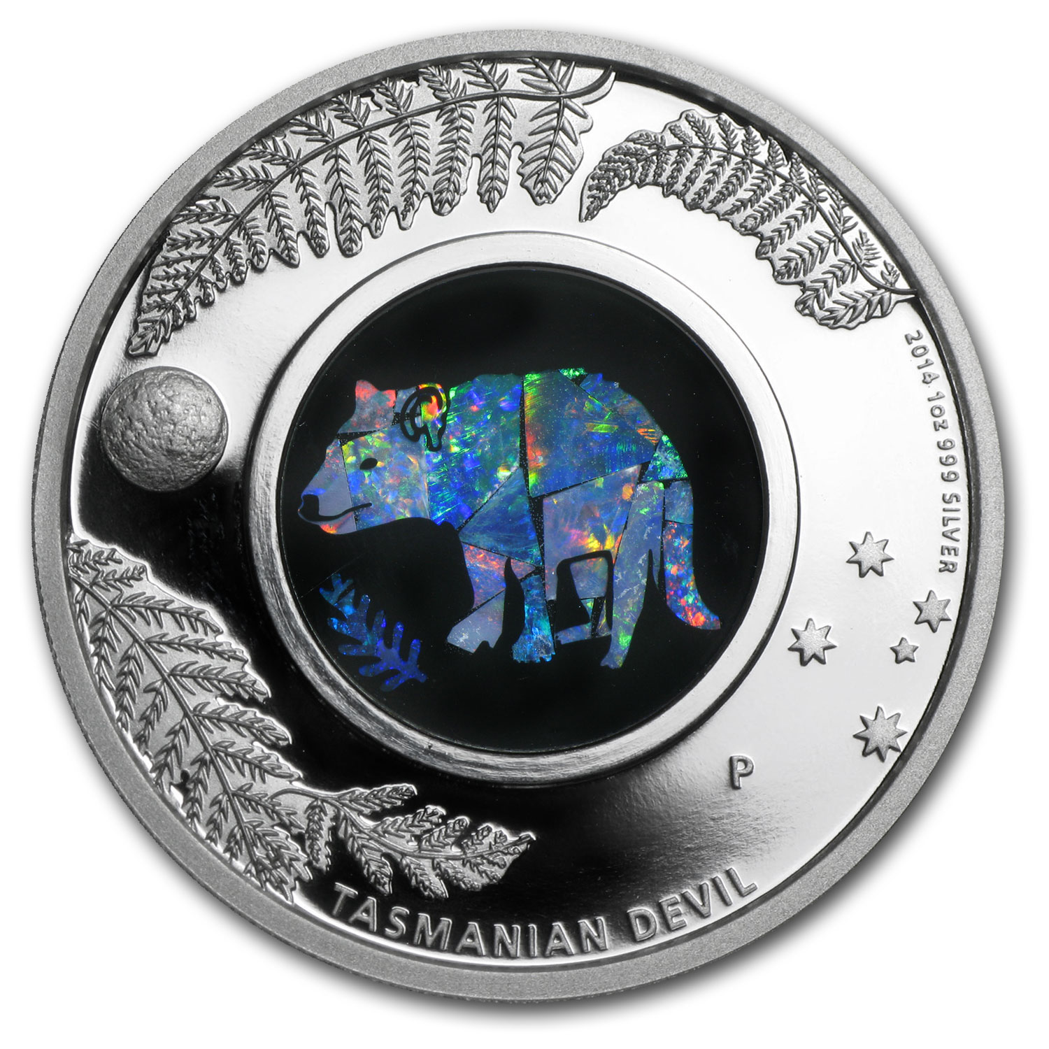 2014 1 oz Proof Silver Tasmanian Devil - Australian Opal Series