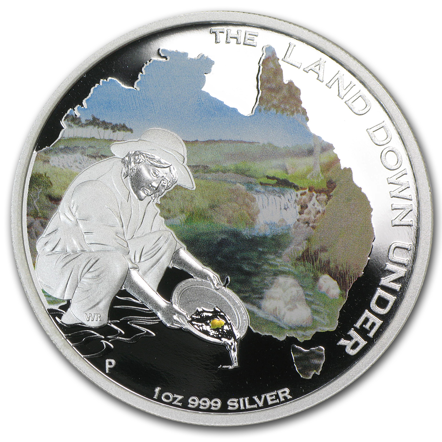 2014 1 oz Silver Australian The Land Down Under Gold Rush Prf