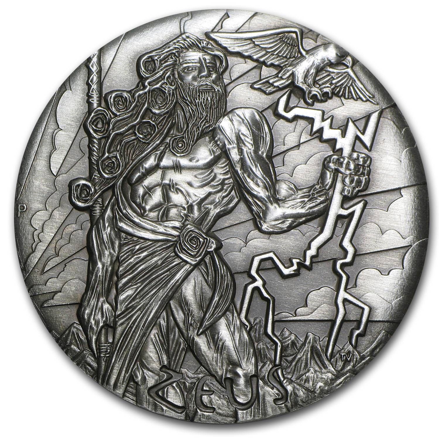 2014 Tuvalu 2 oz Silver Gods of Olympus Zeus BU (High Relief)