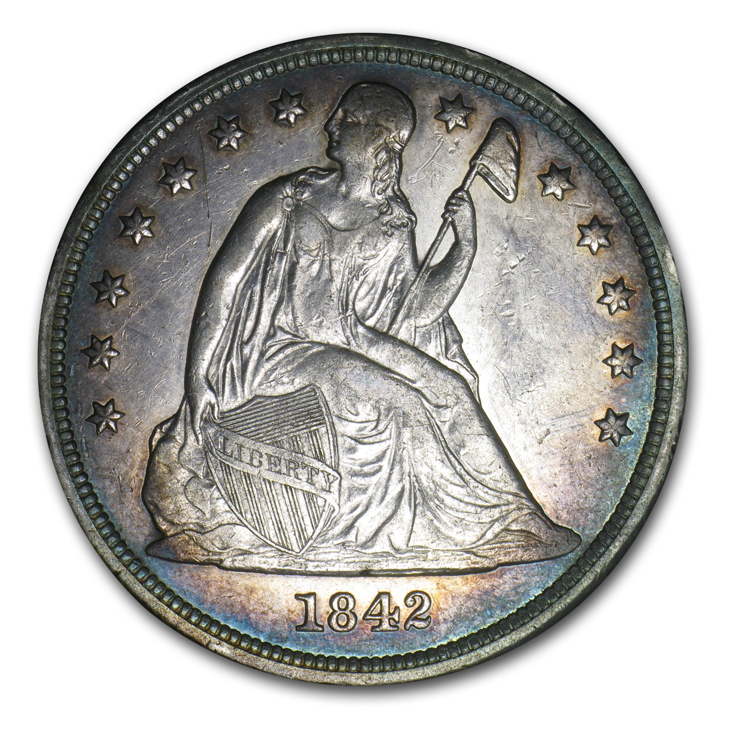 1842 Liberty Seated Dollar AU