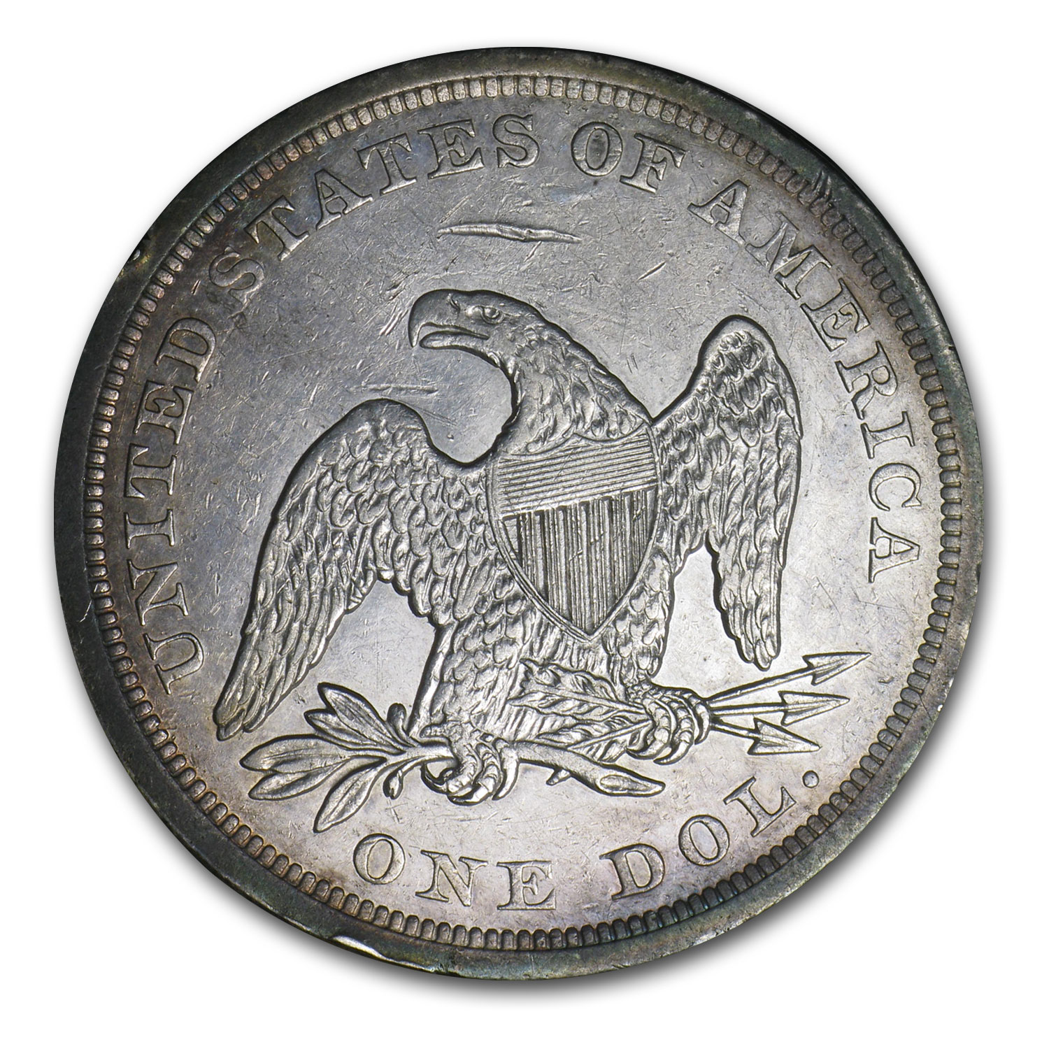 1842 Liberty Seated Dollar - Almost Uncirculated