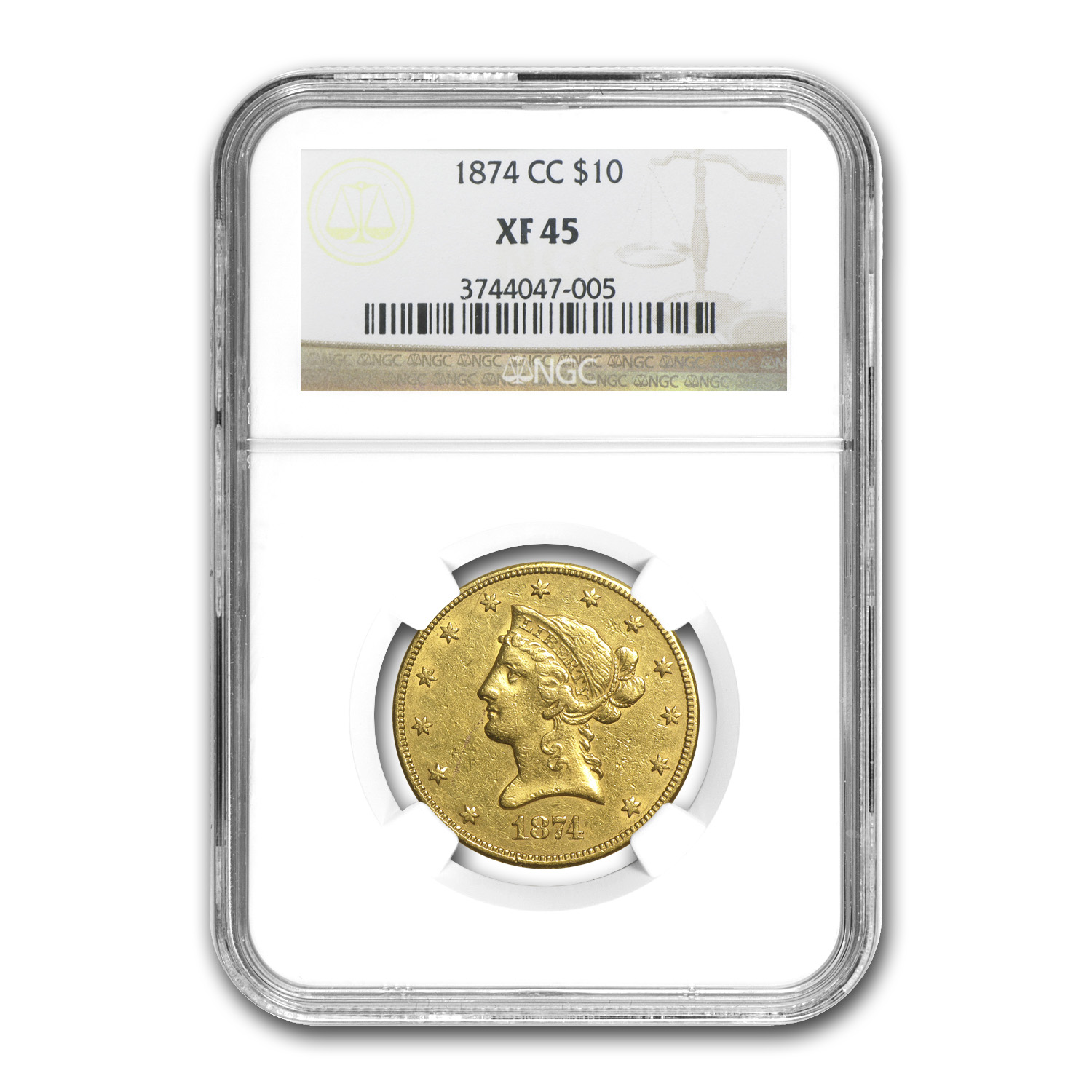 1874-CC $10 Liberty Gold Eagle XF-45 NGC