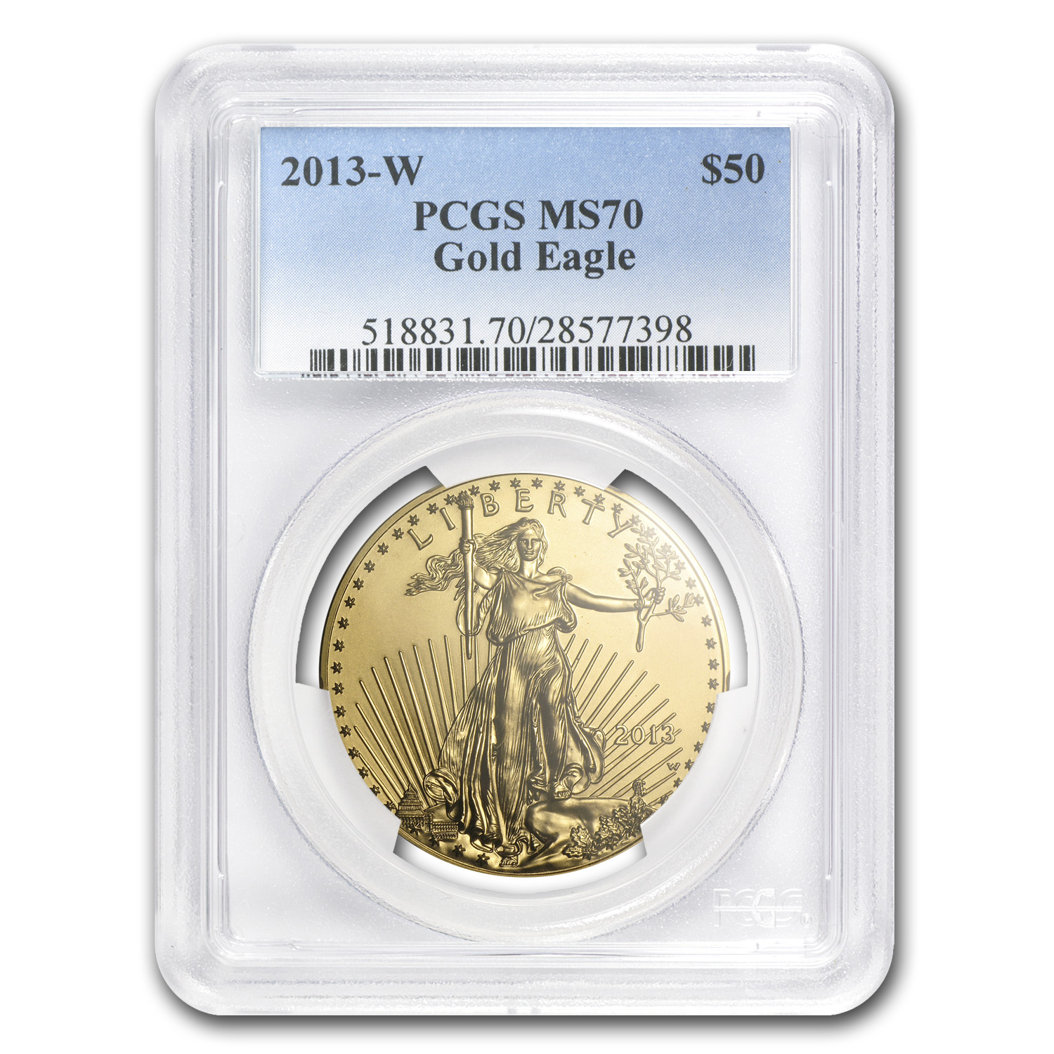 2013-W 1 oz Burnished Gold Eagle PCGS MS-70