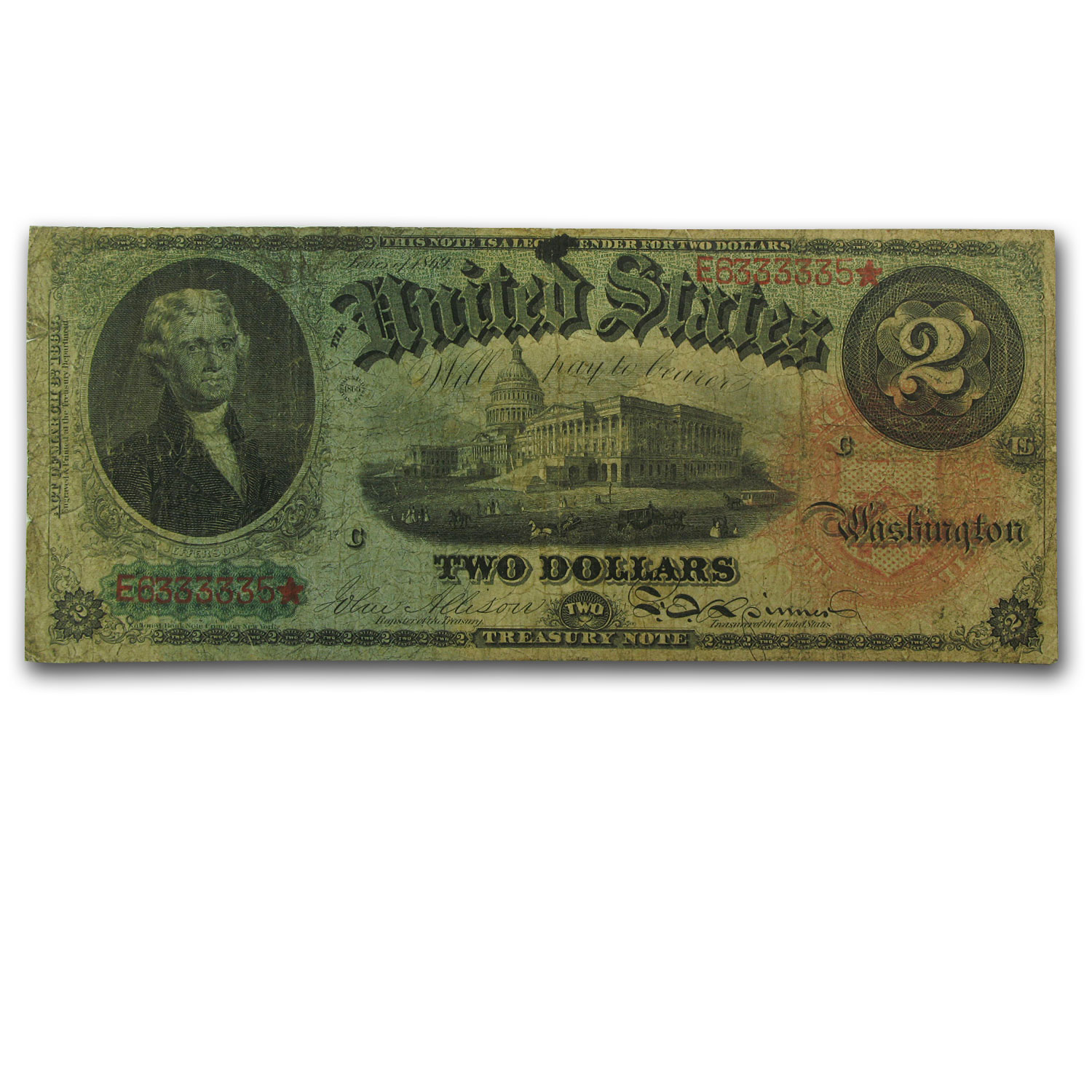 "1869 $2.00 Legal Tender ""Rainbow"" Fine"
