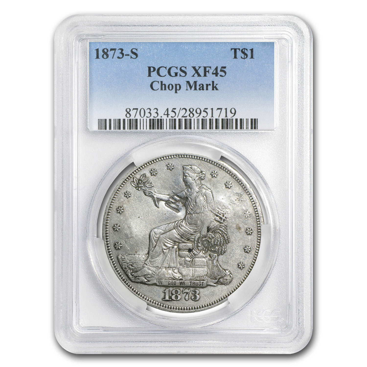 1873-S Trade Dollar XF-45 PCGS (Chopmark)