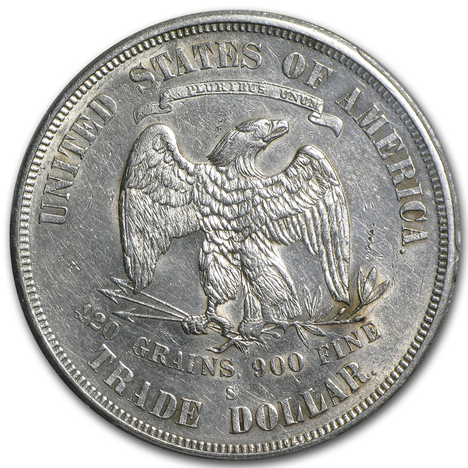 1874-S Trade Dollar Almost Uncirculated-53 PCGS