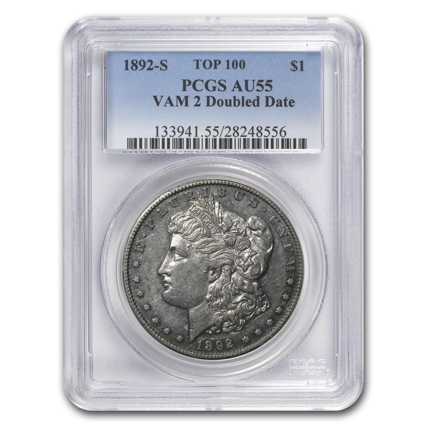 1892-S Morgan Dollar AU-55 PCGS (VAM-2, Doubled Date, Top-100)