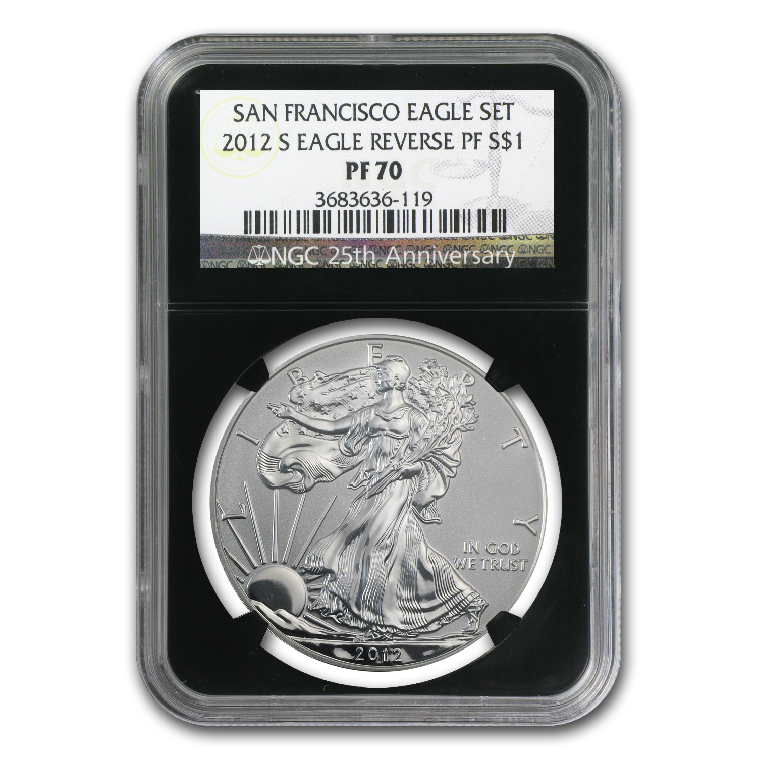 2012-S 2-Coin Silver Eagle Set PF-70 NGC (25th Anniv)