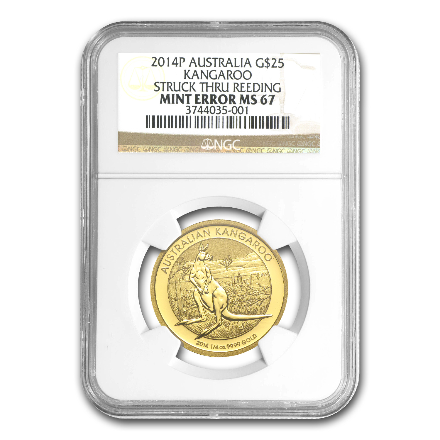 2014 Australia 1/4 oz Gold Kangaroo MS-67 NGC (Mint Error)