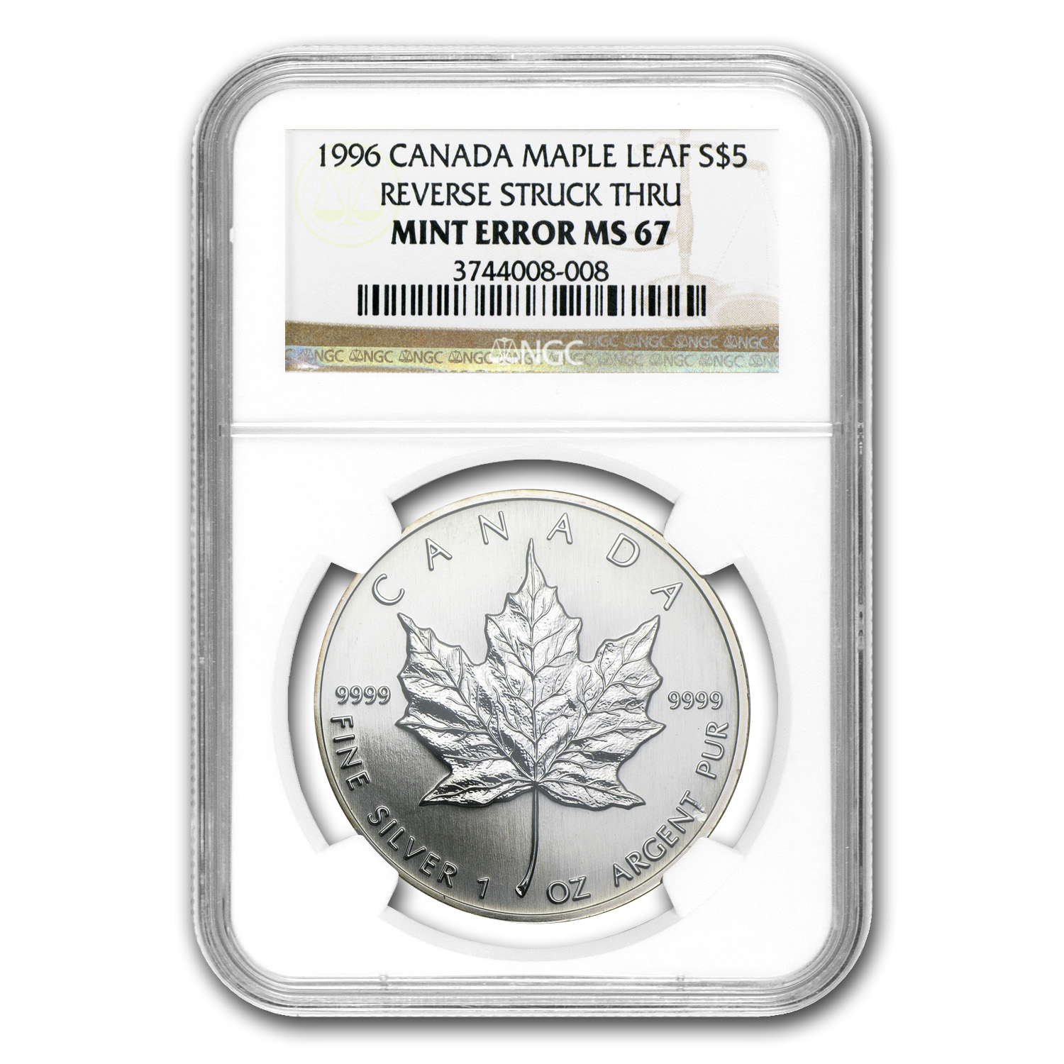 1996 1 oz Silver Can. Maple Leaf Rev. Struck Mint Error MS-67 NGC