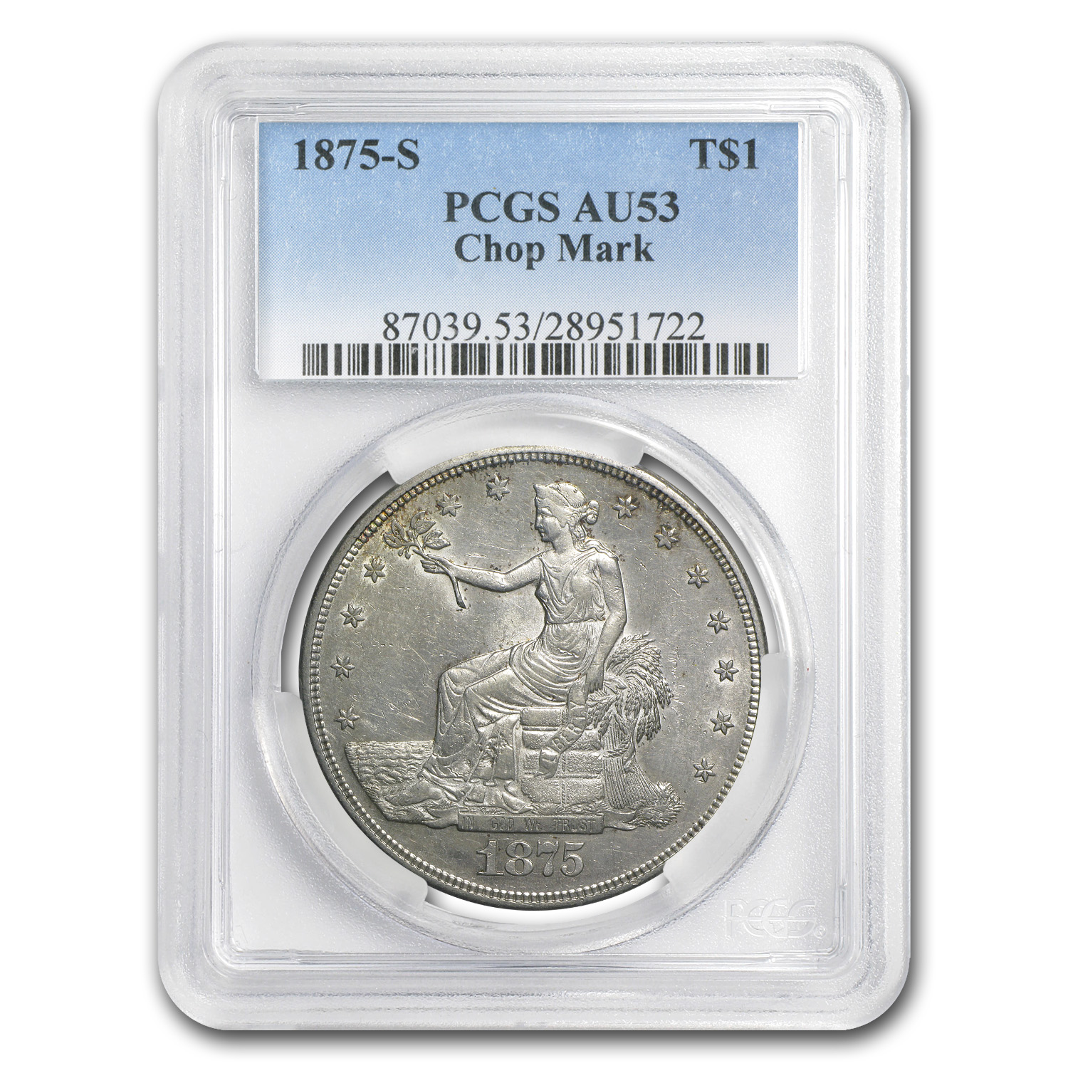 1875-S Trade Dollar AU-53 Chopmarks PCGS