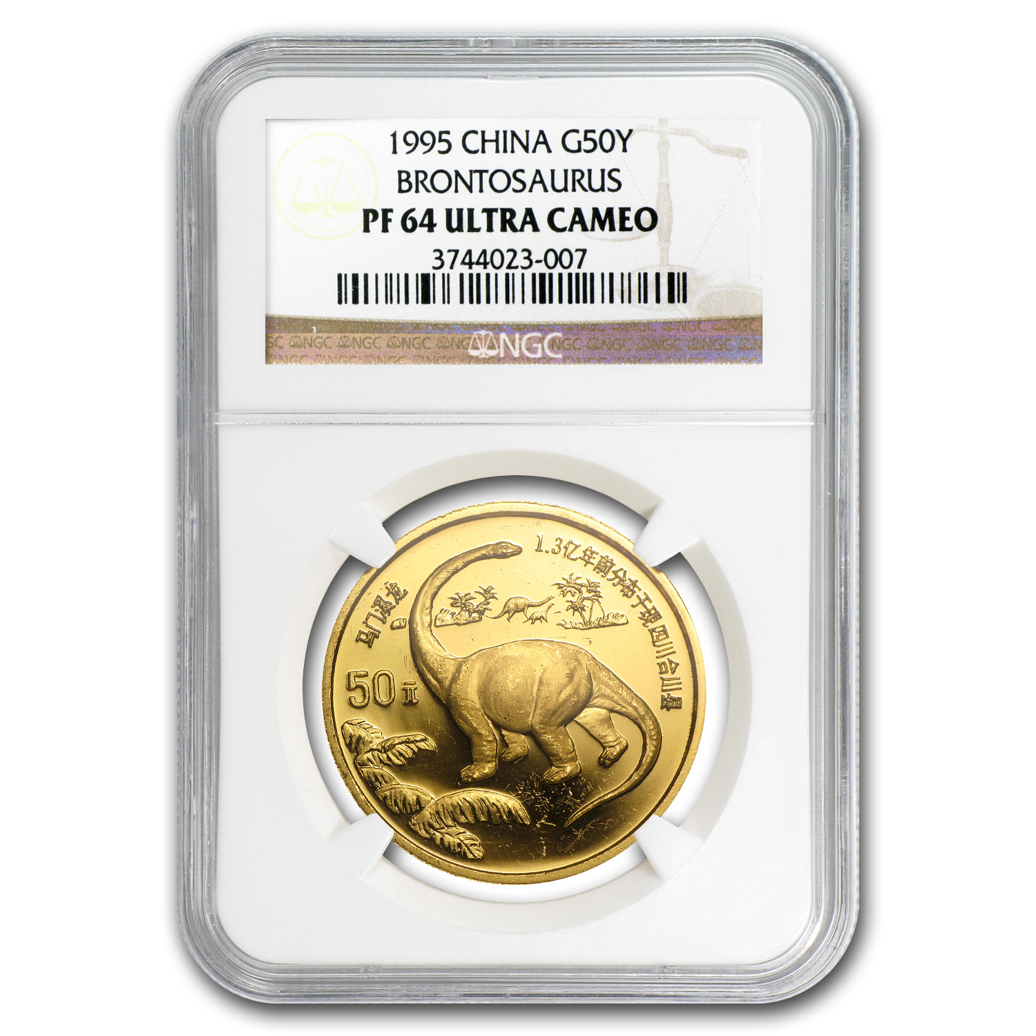 1995 China 1/2 oz Gold Dinosaur Brontosaurus  PF-64 NGC